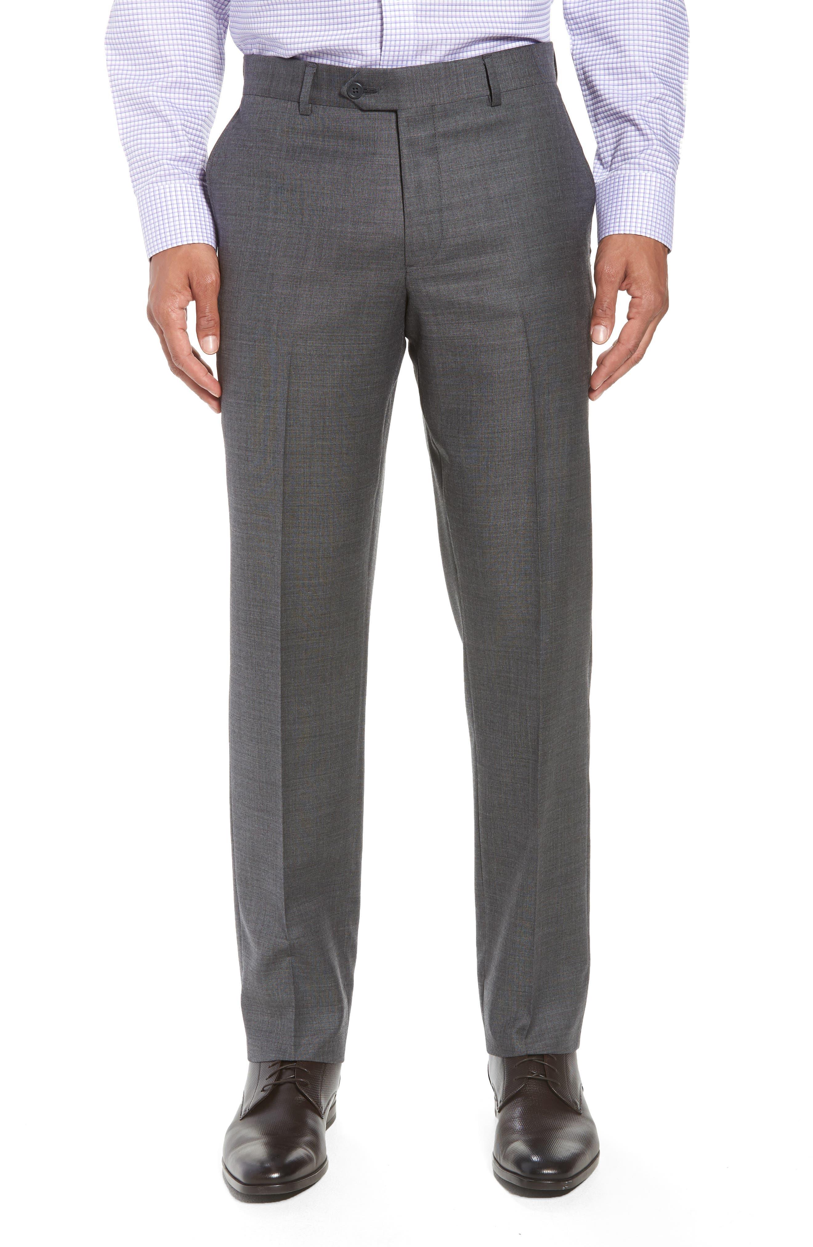 Trim Fit Sharkskin Wool Suit,                             Alternate thumbnail 5, color,                             MID GREY
