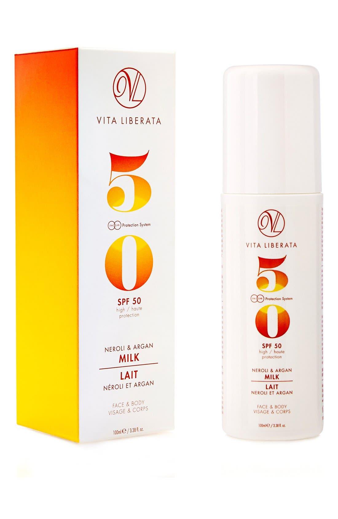 Neroli & Argan Milk for Face & Body SPF 50,                             Alternate thumbnail 2, color,