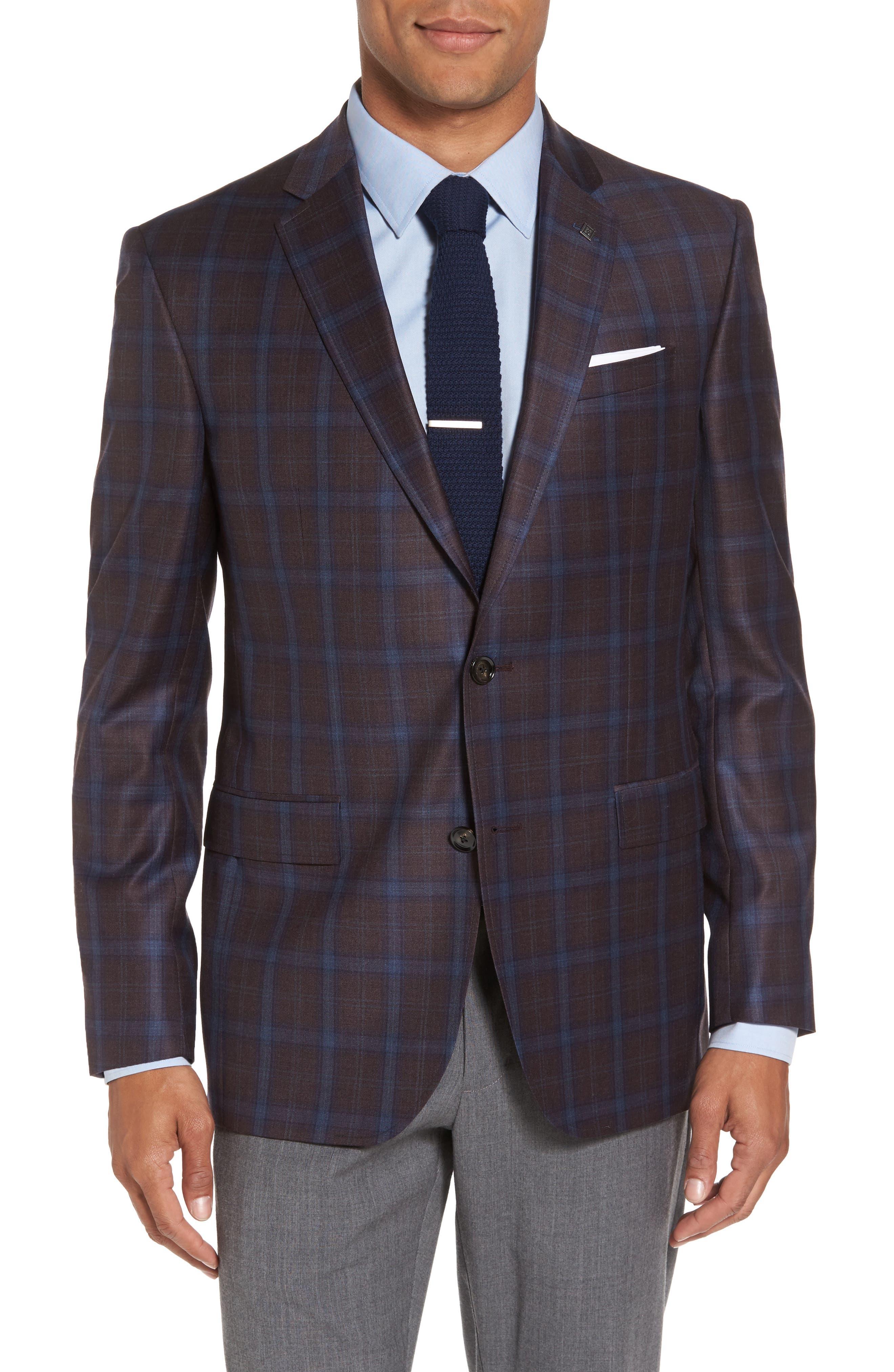 Jay Trim Fit Plaid Wool Sport Coat,                             Main thumbnail 1, color,                             932