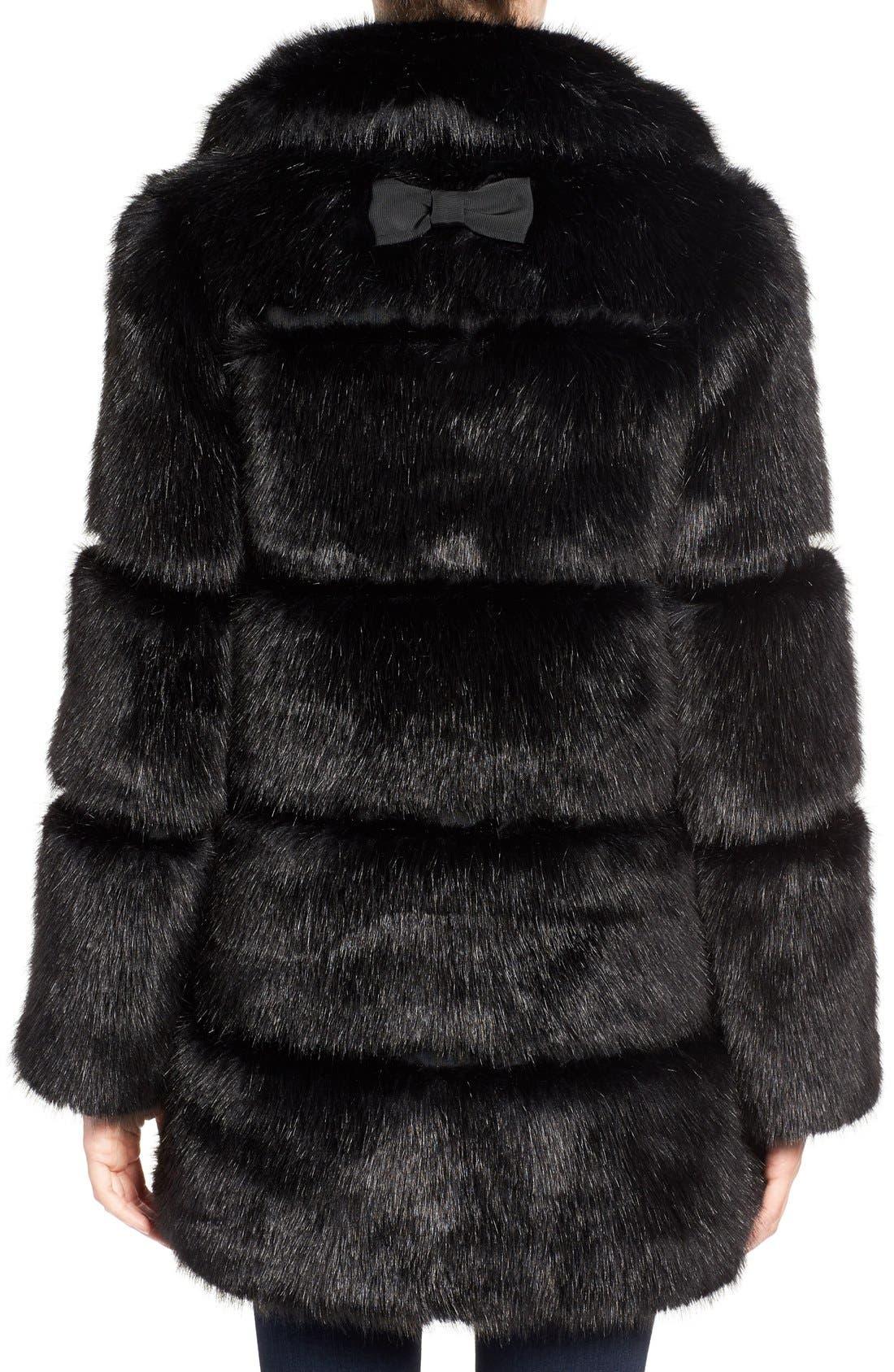 grooved faux fur coat,                             Alternate thumbnail 3, color,                             001