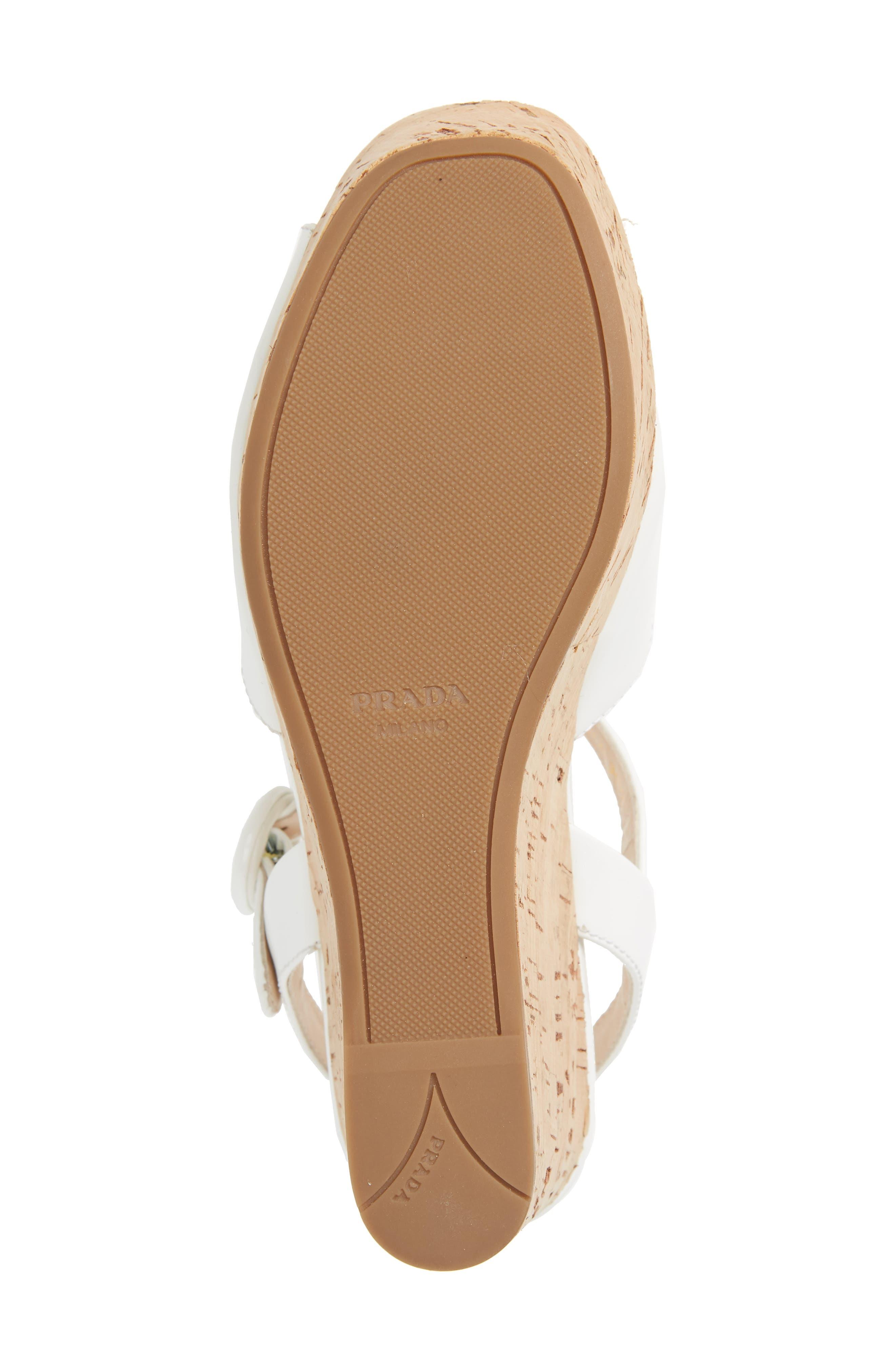 Wedge Platform Sandal,                             Alternate thumbnail 6, color,                             WHITE PATENT