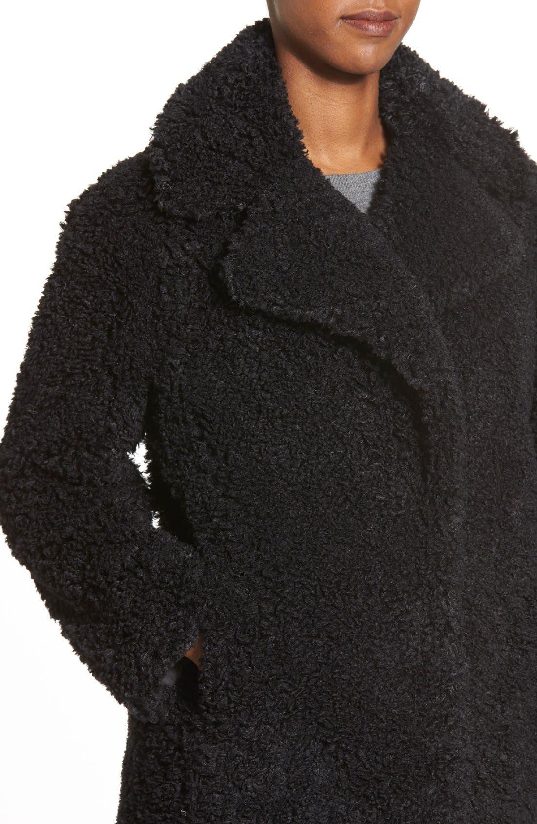 KENSIE,                             'Teddy Bear' Notch Collar Reversible Faux Fur Coat,                             Alternate thumbnail 5, color,                             001