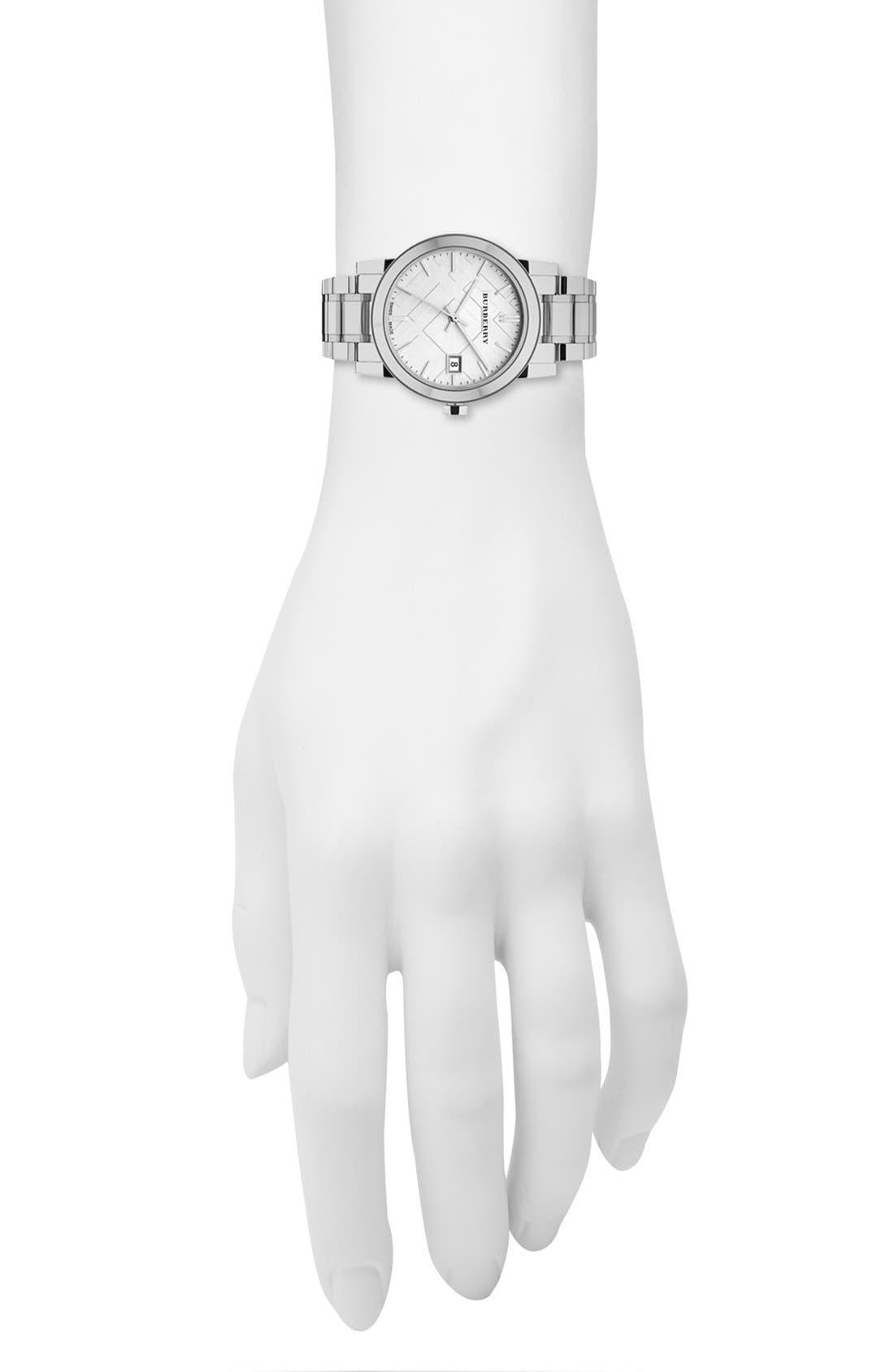 Medium Check Stamped Bracelet Watch, 34mm,                             Alternate thumbnail 4, color,                             040