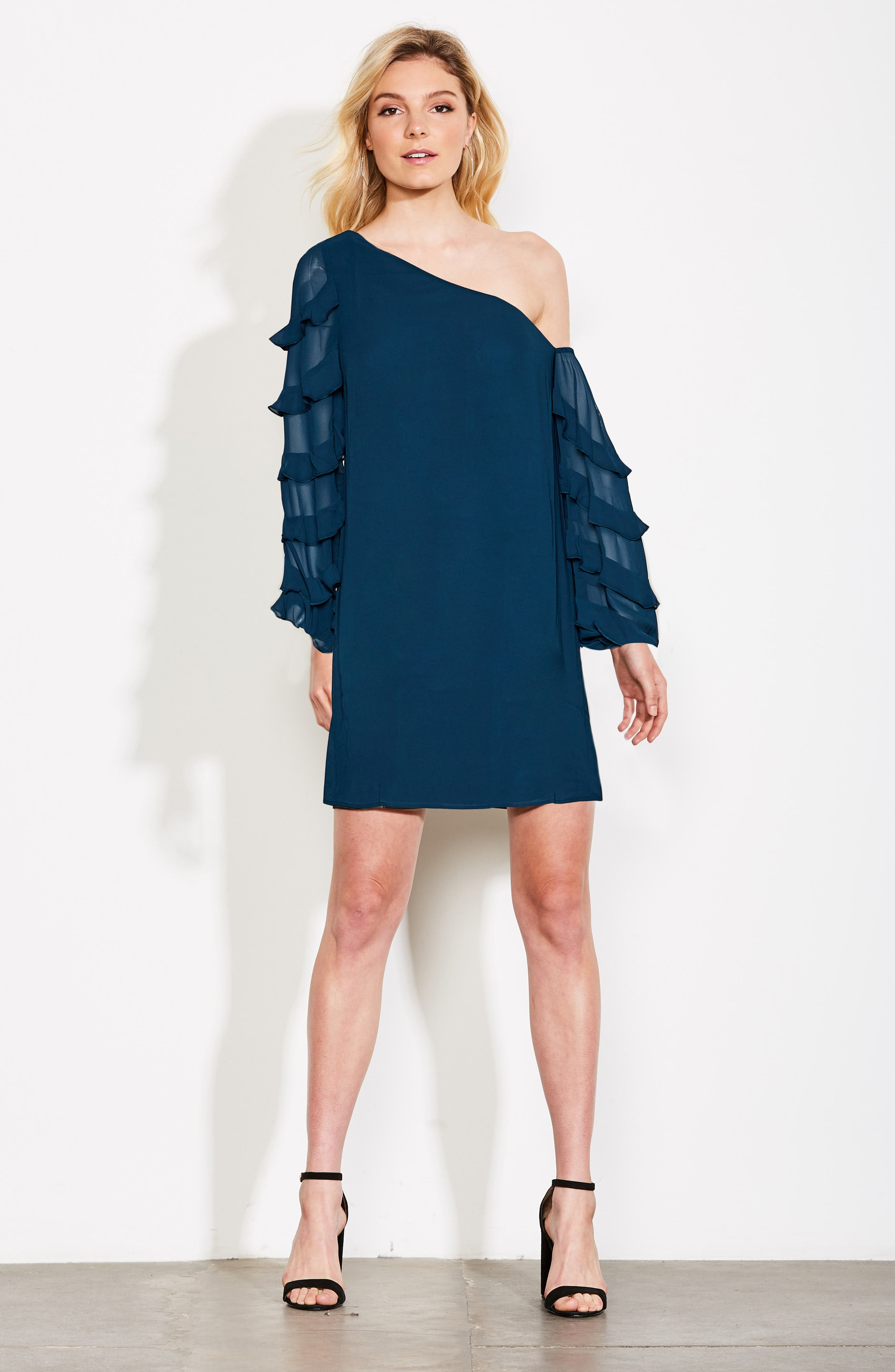 Love the Way I Look Tonight One-Shoulder Minidress,                             Alternate thumbnail 7, color,                             TEAL