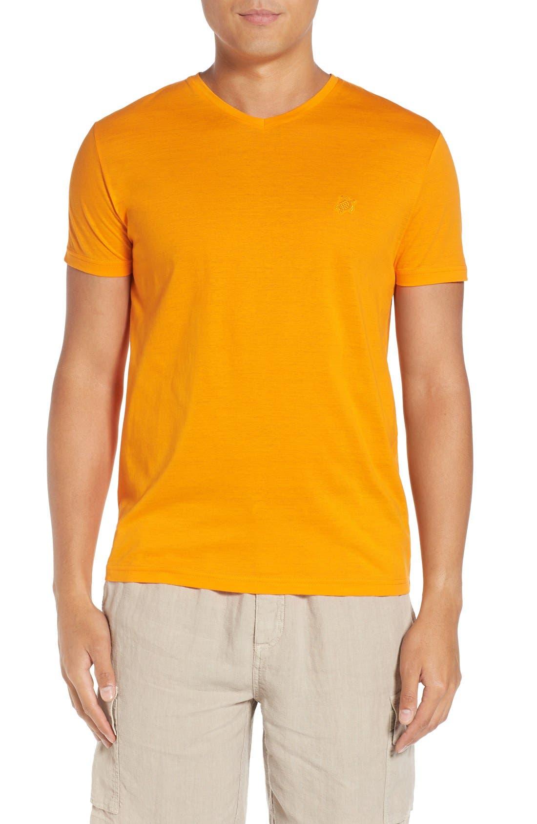 V-Neck T-Shirt,                             Main thumbnail 1, color,                             KUMQUAT