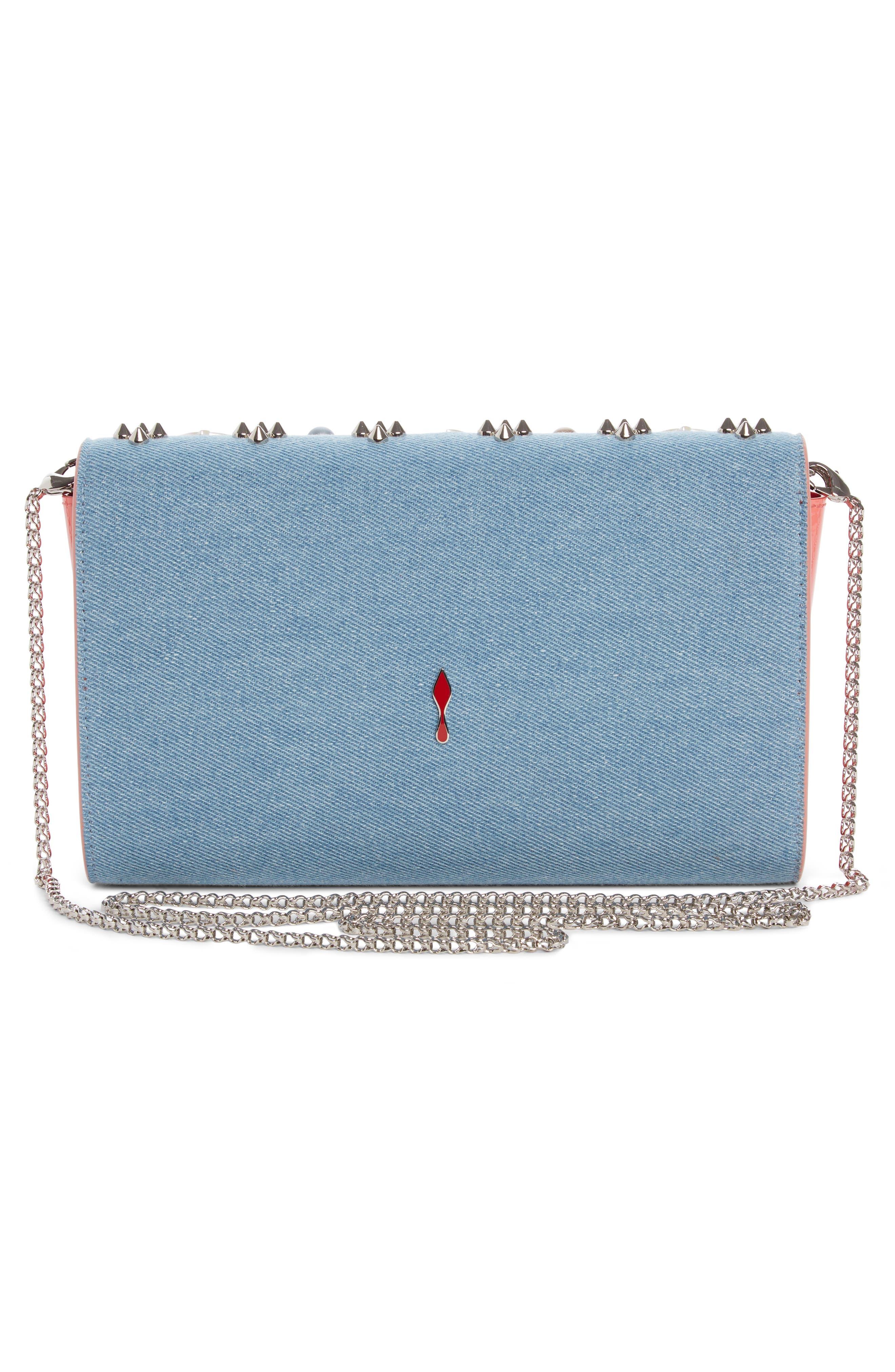 Paloma Studded Denim Clutch,                             Alternate thumbnail 2, color,                             BLUE/ PEARL MIX