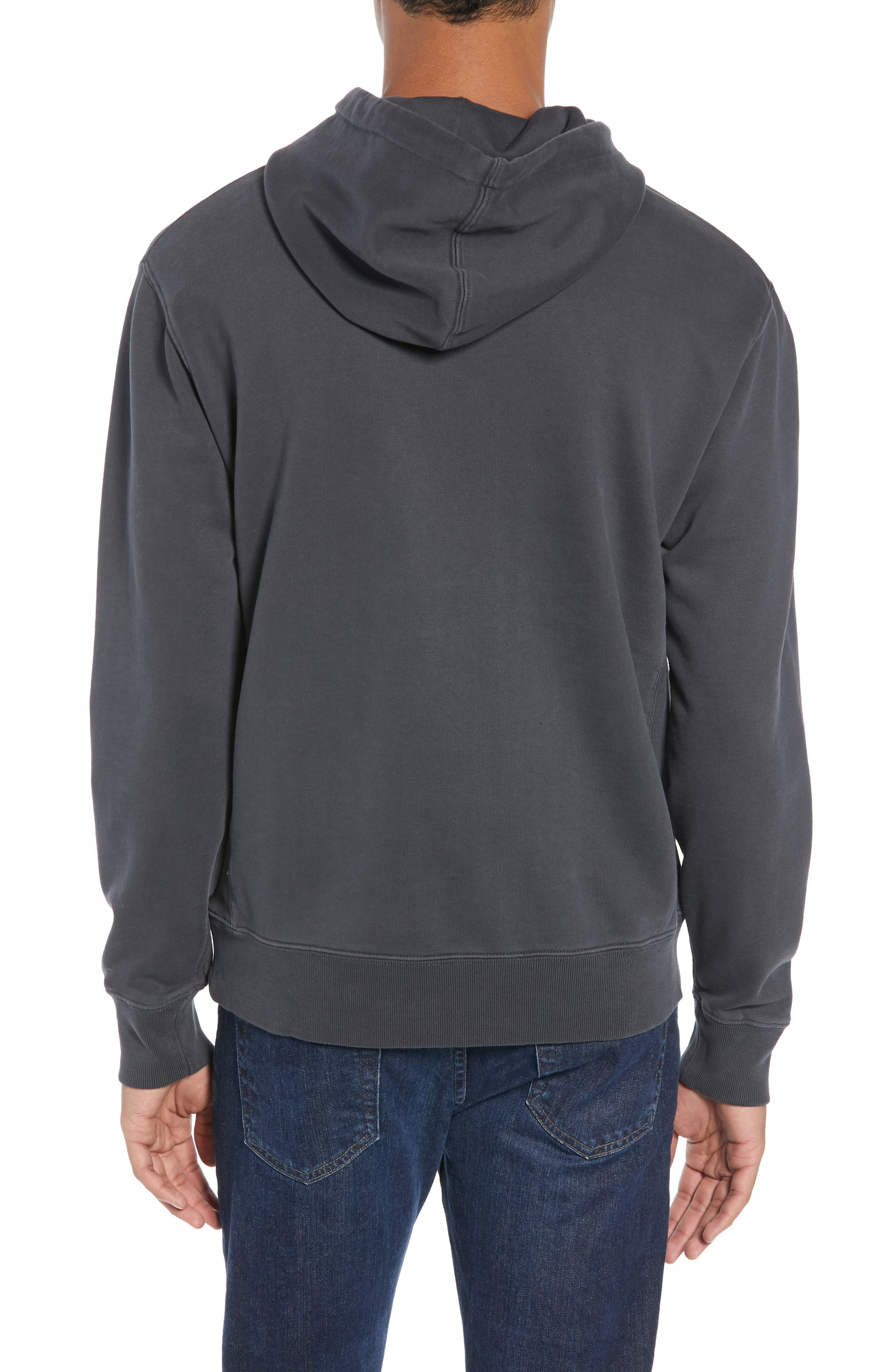 Garment Dyed French Terry Hoodie,                             Alternate thumbnail 2, color,                             WASHED OUT BLACK