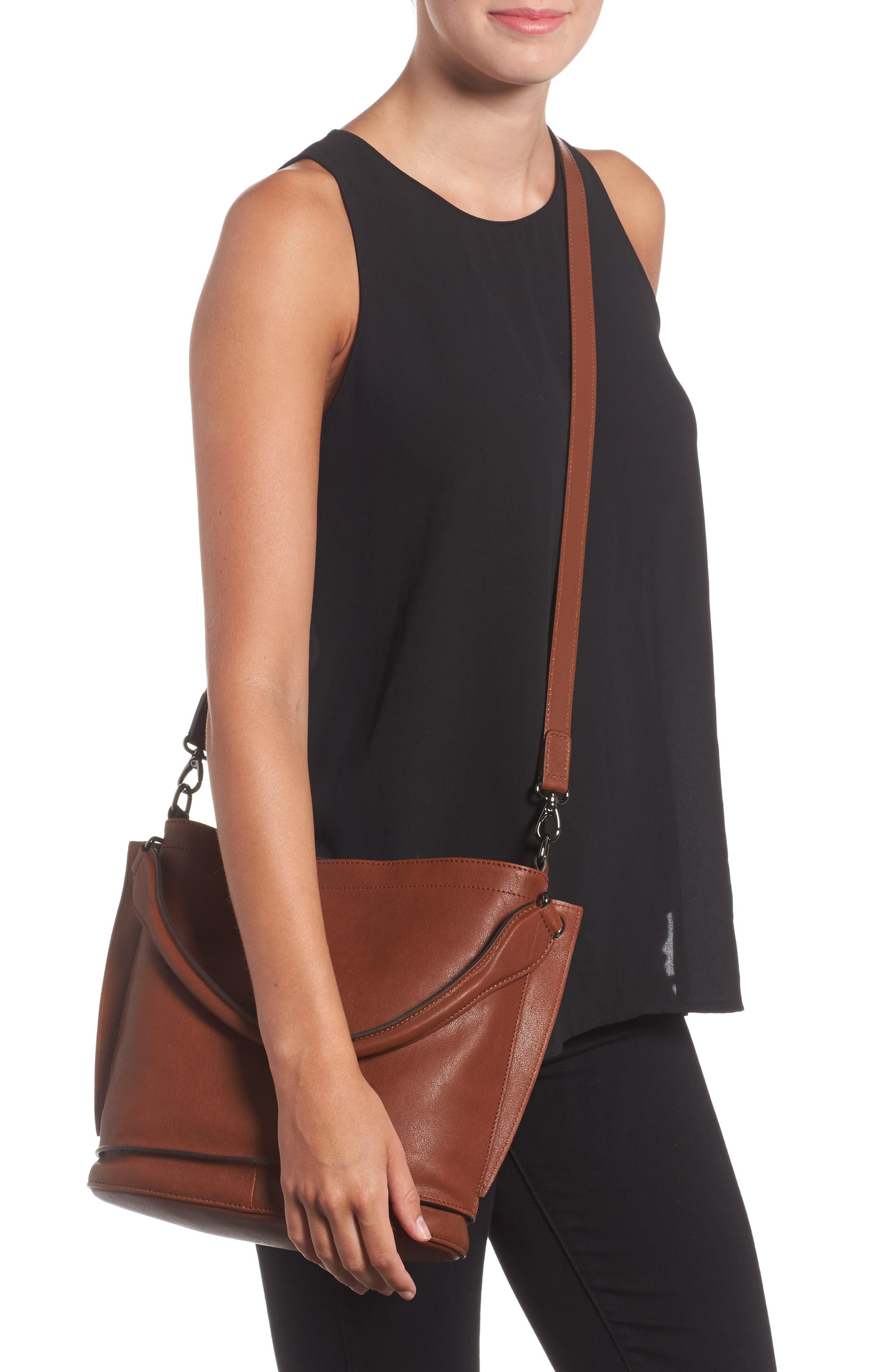 3D Leather Bucket Bag,                             Alternate thumbnail 2, color,                             COGNAC