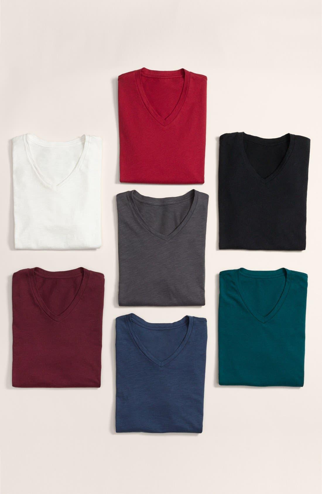 Slub Cotton V-Neck T-Shirt,                             Alternate thumbnail 6, color,                             BLACK