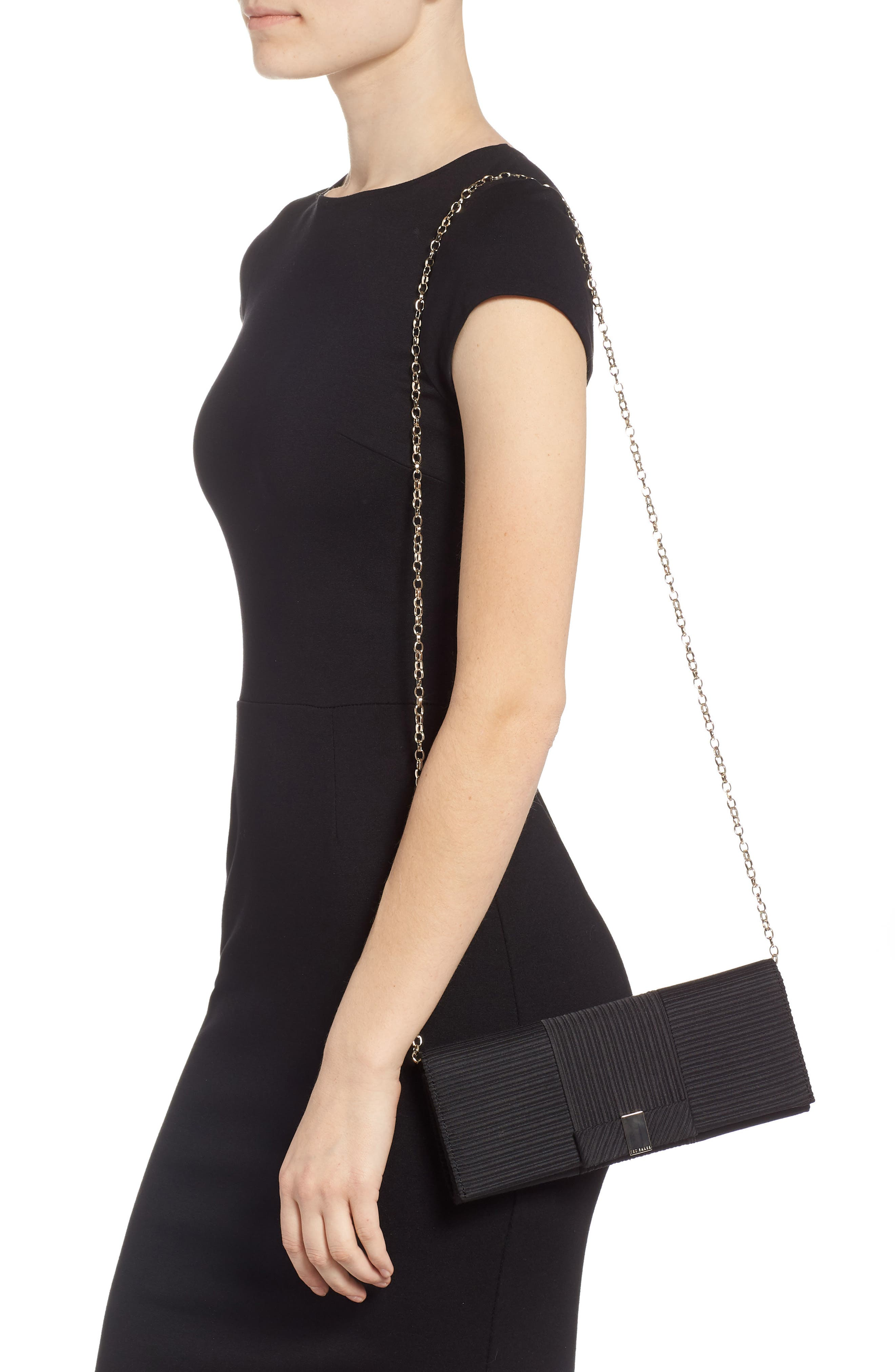 Emilee Bow Evening Bag,                             Alternate thumbnail 2, color,                             BLACK