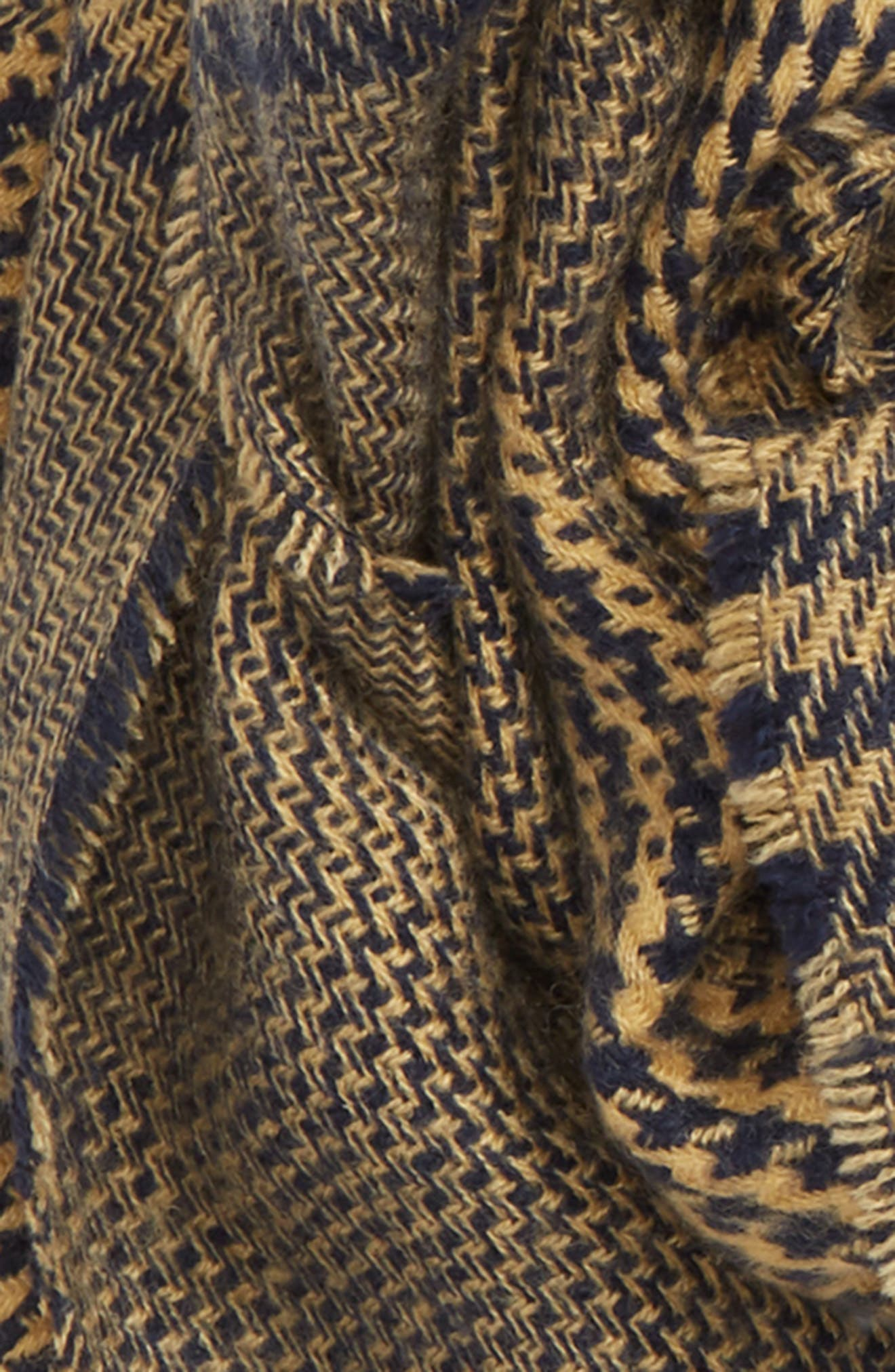 Mixed Houndstooth Scarf,                             Alternate thumbnail 3, color,                             NAVY CAMEL