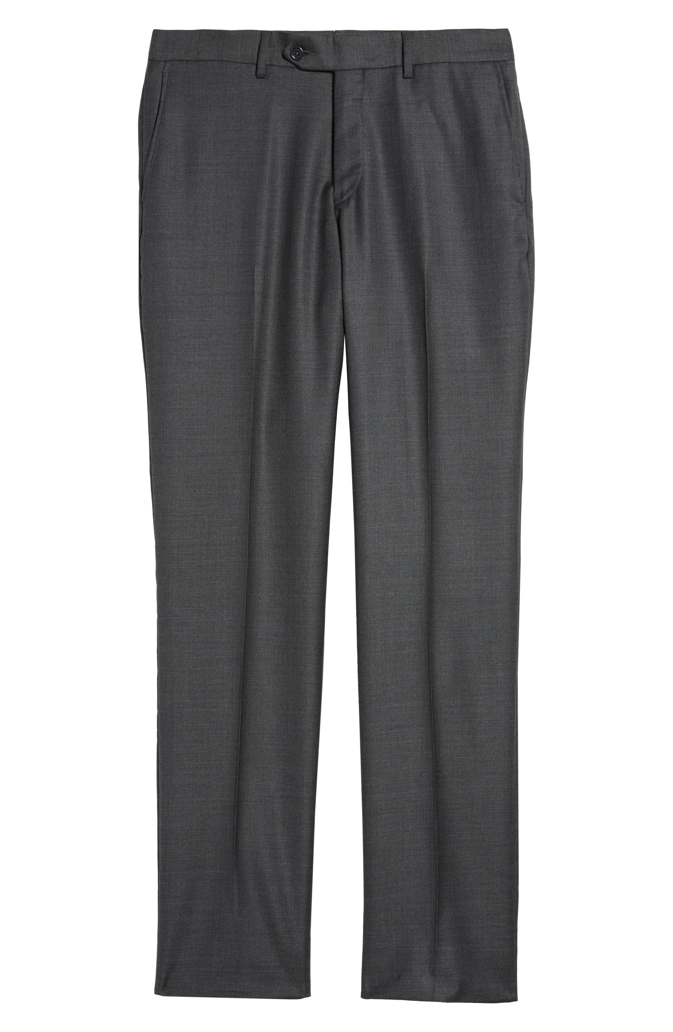 NORDSTROM MEN'S SHOP,                             Flat Front Sharkskin Wool Trousers,                             Alternate thumbnail 6, color,                             025