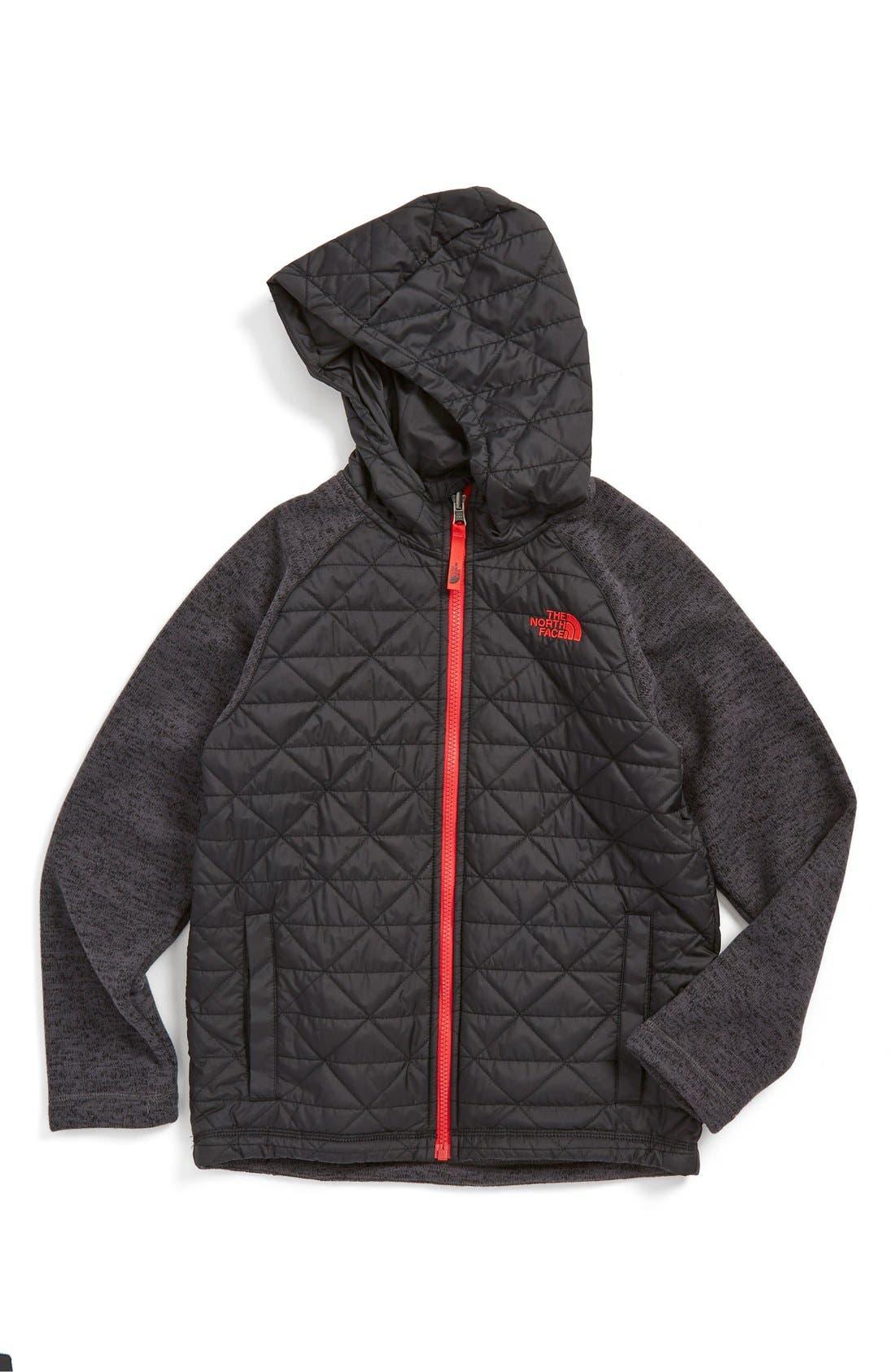 Water Repellent Quilted Sweater Fleece Hoodie,                         Main,                         color, TNF BLACK