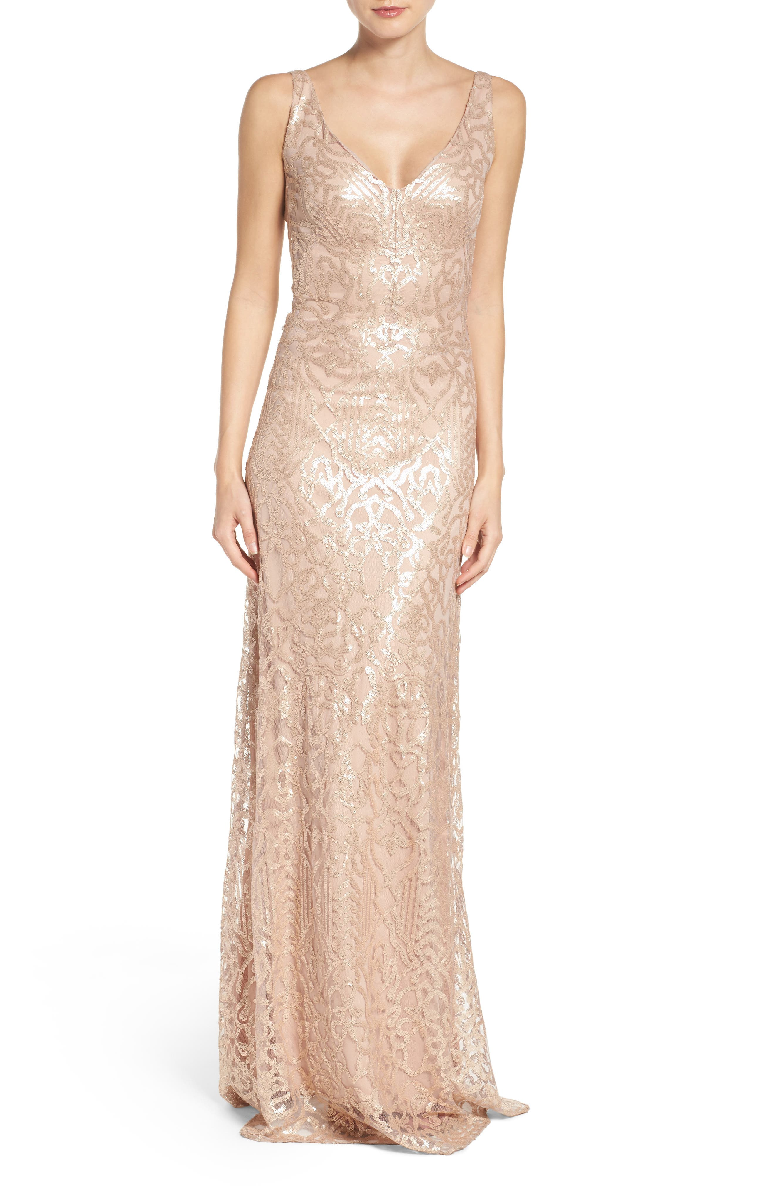 Sequin Embroidered A-Line Gown,                             Main thumbnail 1, color,                             250