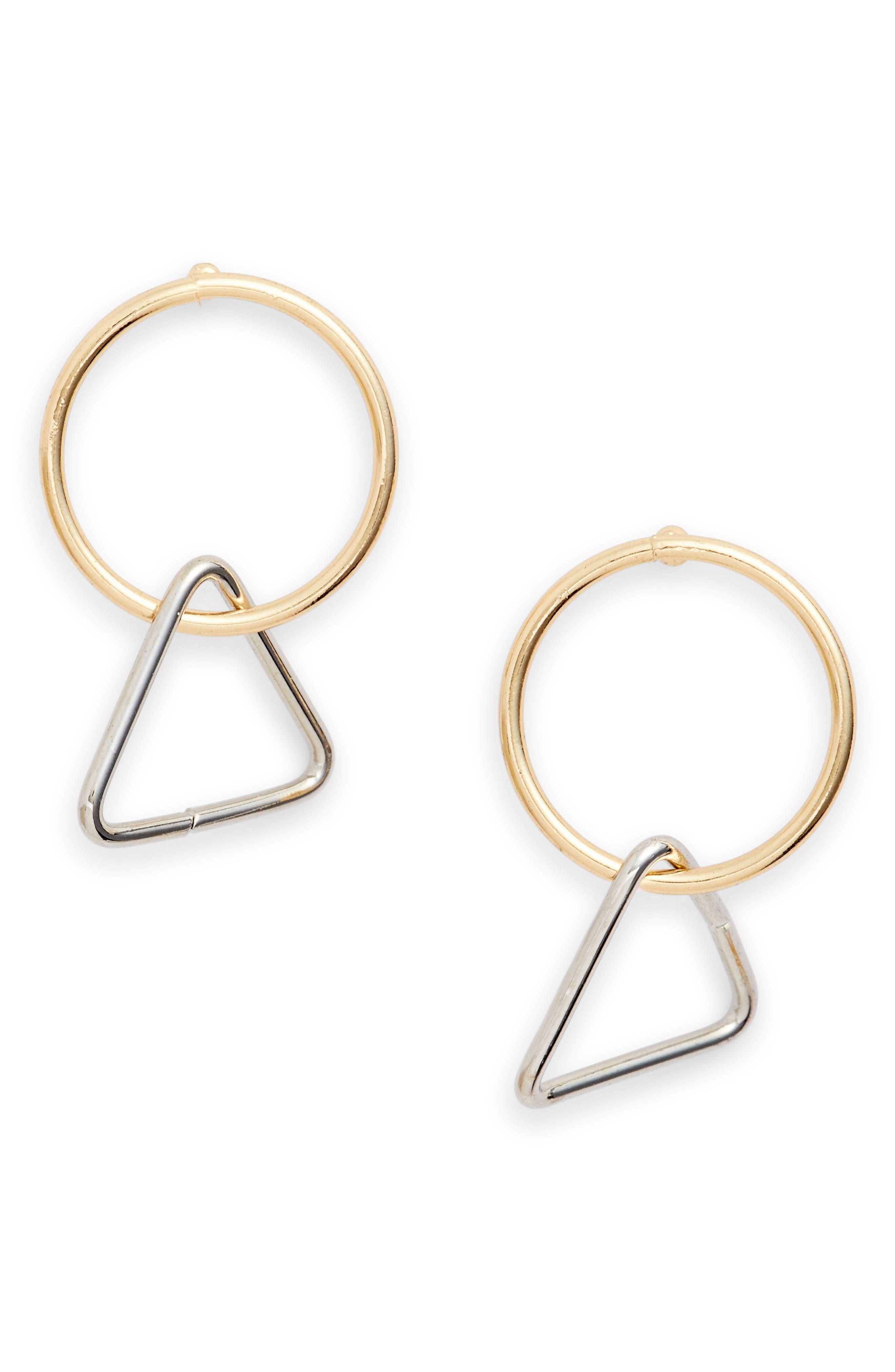 Mini Triangle Hoop Earrings,                         Main,                         color, GOLD/ SILVER