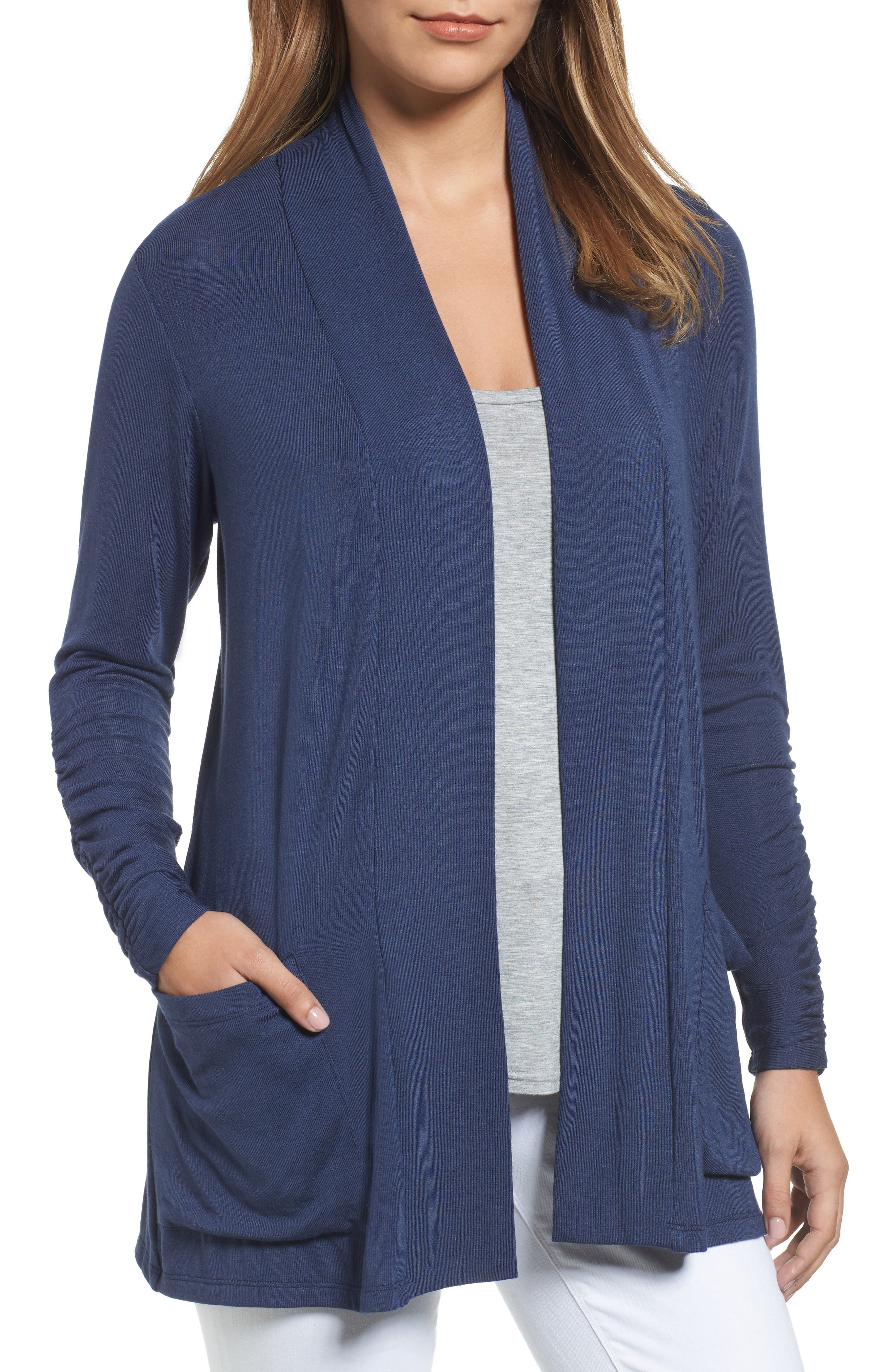 Ruched Sleeve Cardigan,                         Main,                         color, NAVY