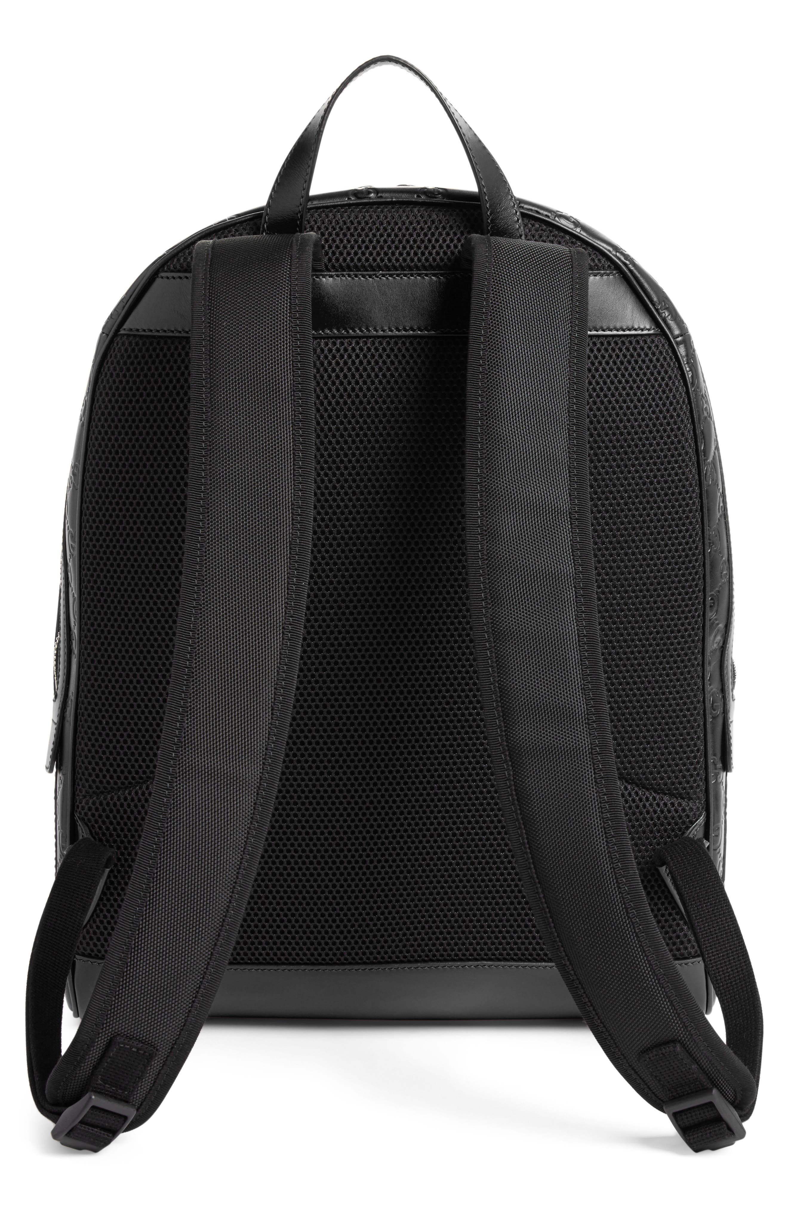 Embossed Leather Backpack,                             Alternate thumbnail 2, color,                             BLACK