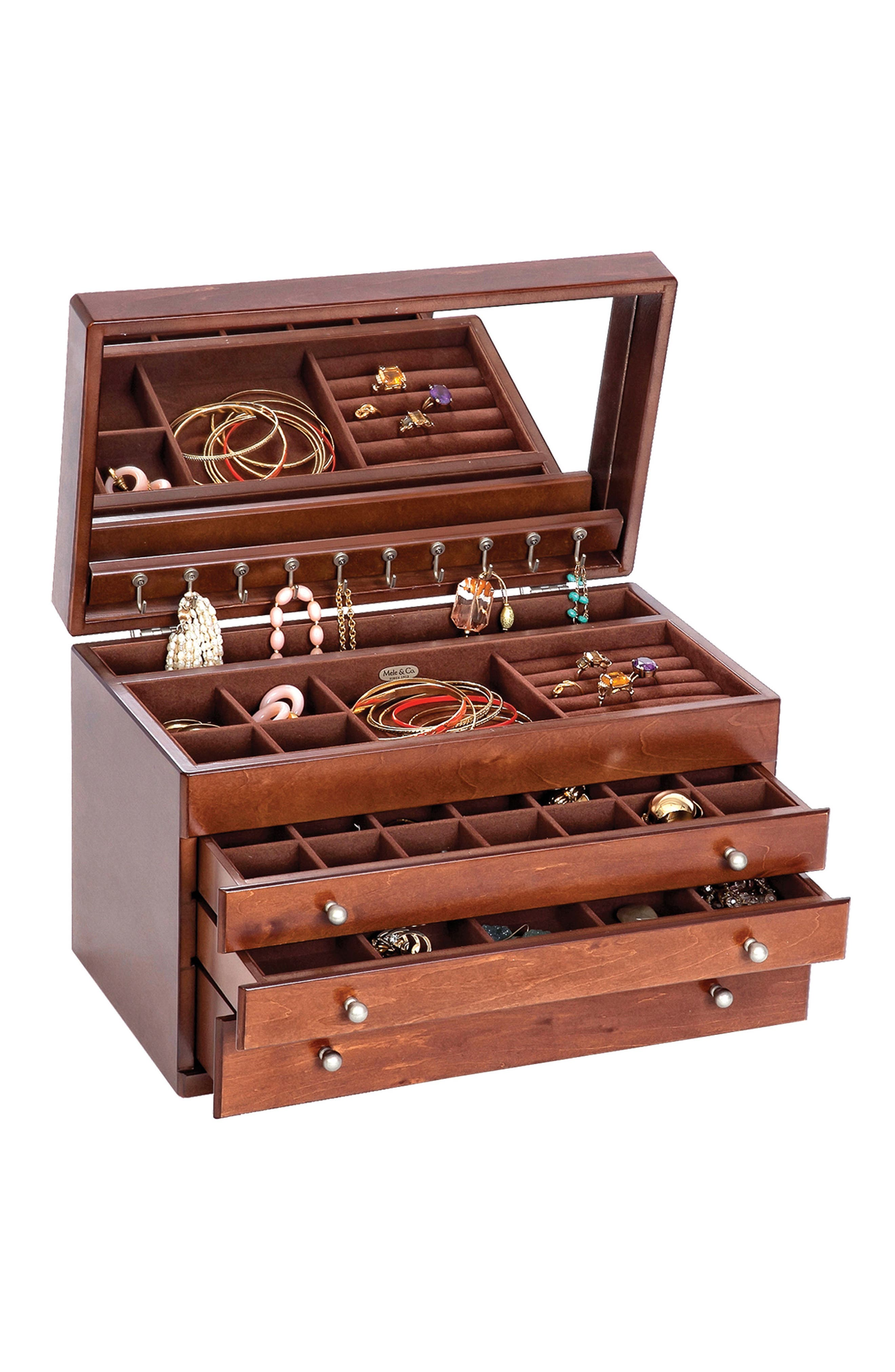 Brigitte Wooden Jewelry Box,                             Alternate thumbnail 3, color,                             BROWN