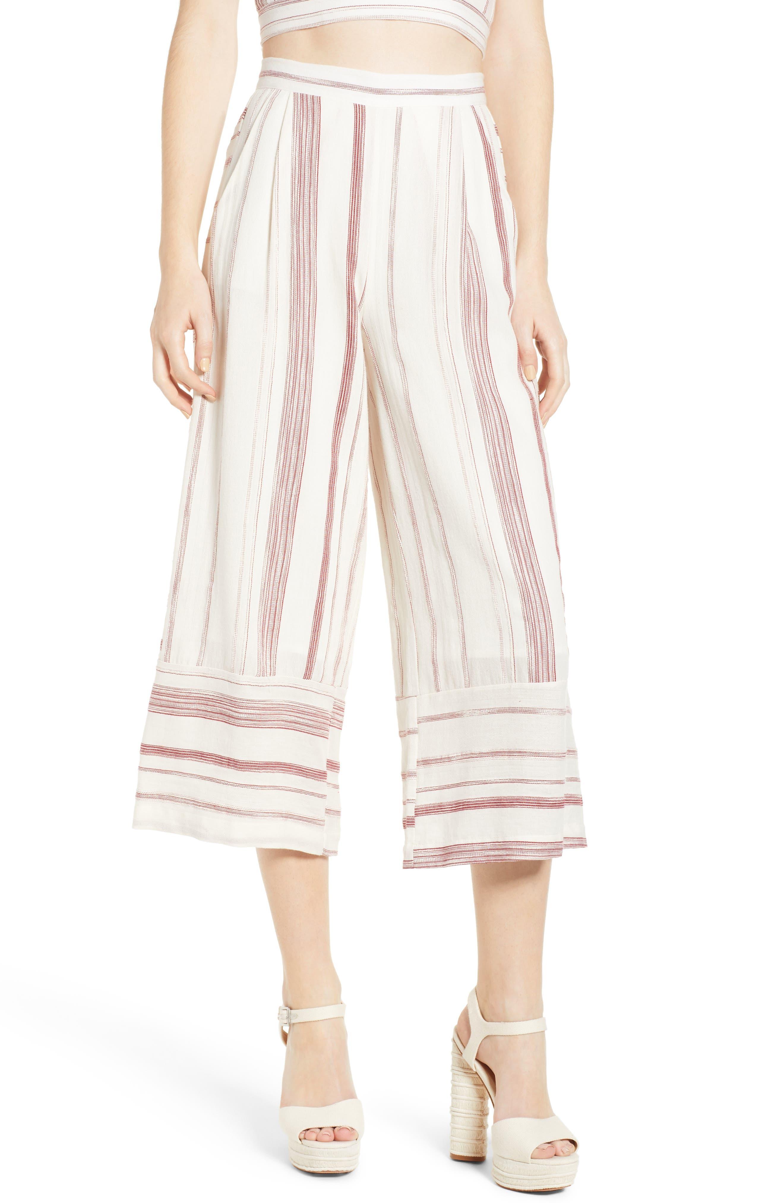 Mariana Stripe Crop Wide Leg Pants,                         Main,                         color, 600