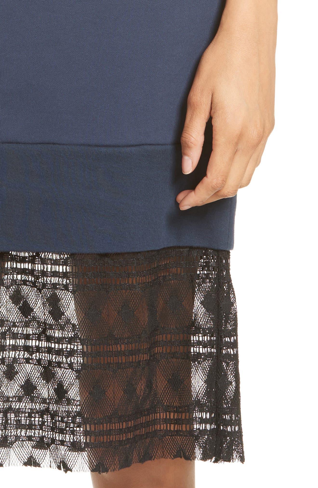 Tesa Lace Trim Sweatshirt Dress,                             Alternate thumbnail 4, color,                             400