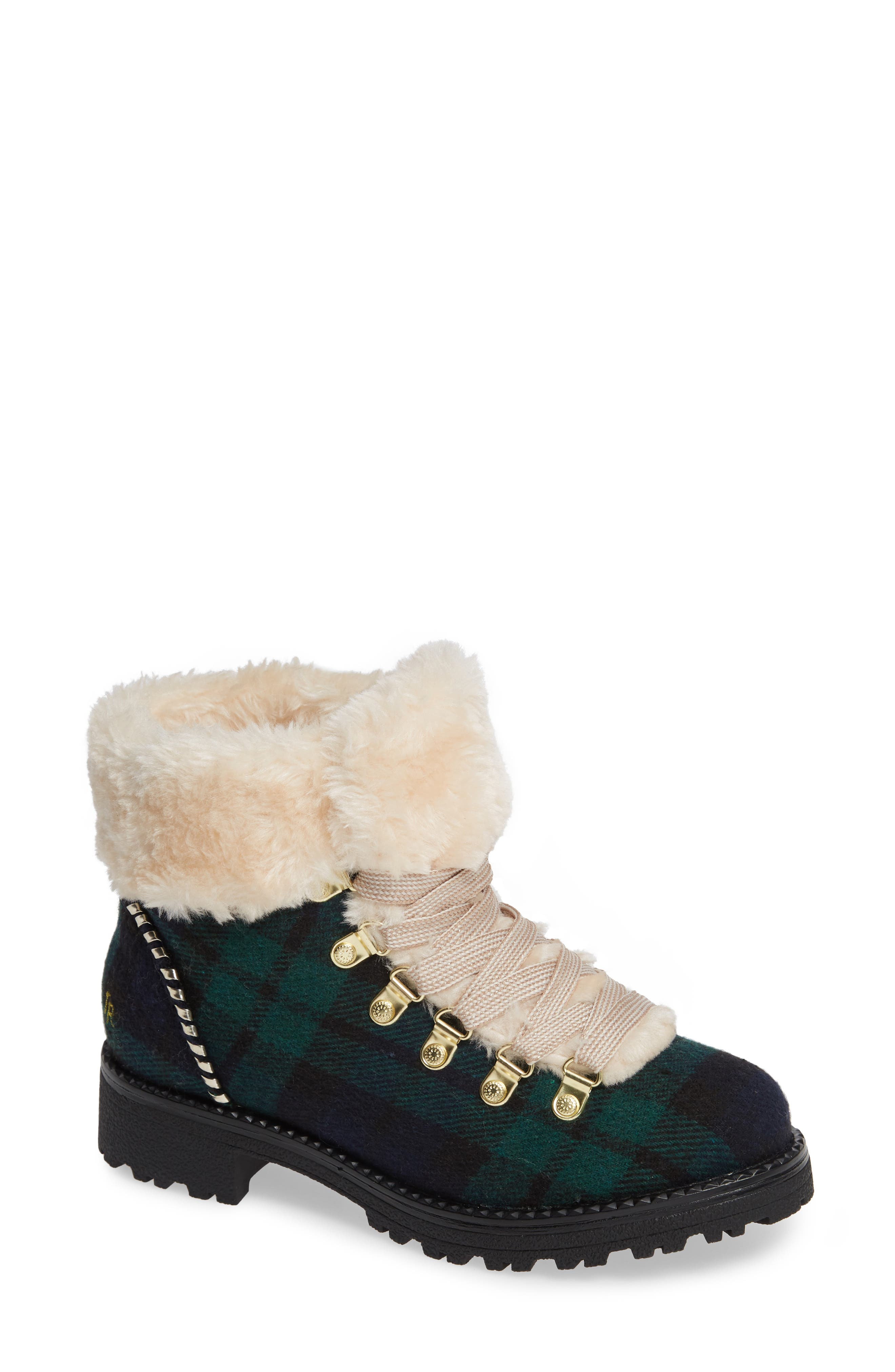 Women'S Charlie Plaid Faux-Fur Cold Weather Booties in Midnight/ Green Fabric