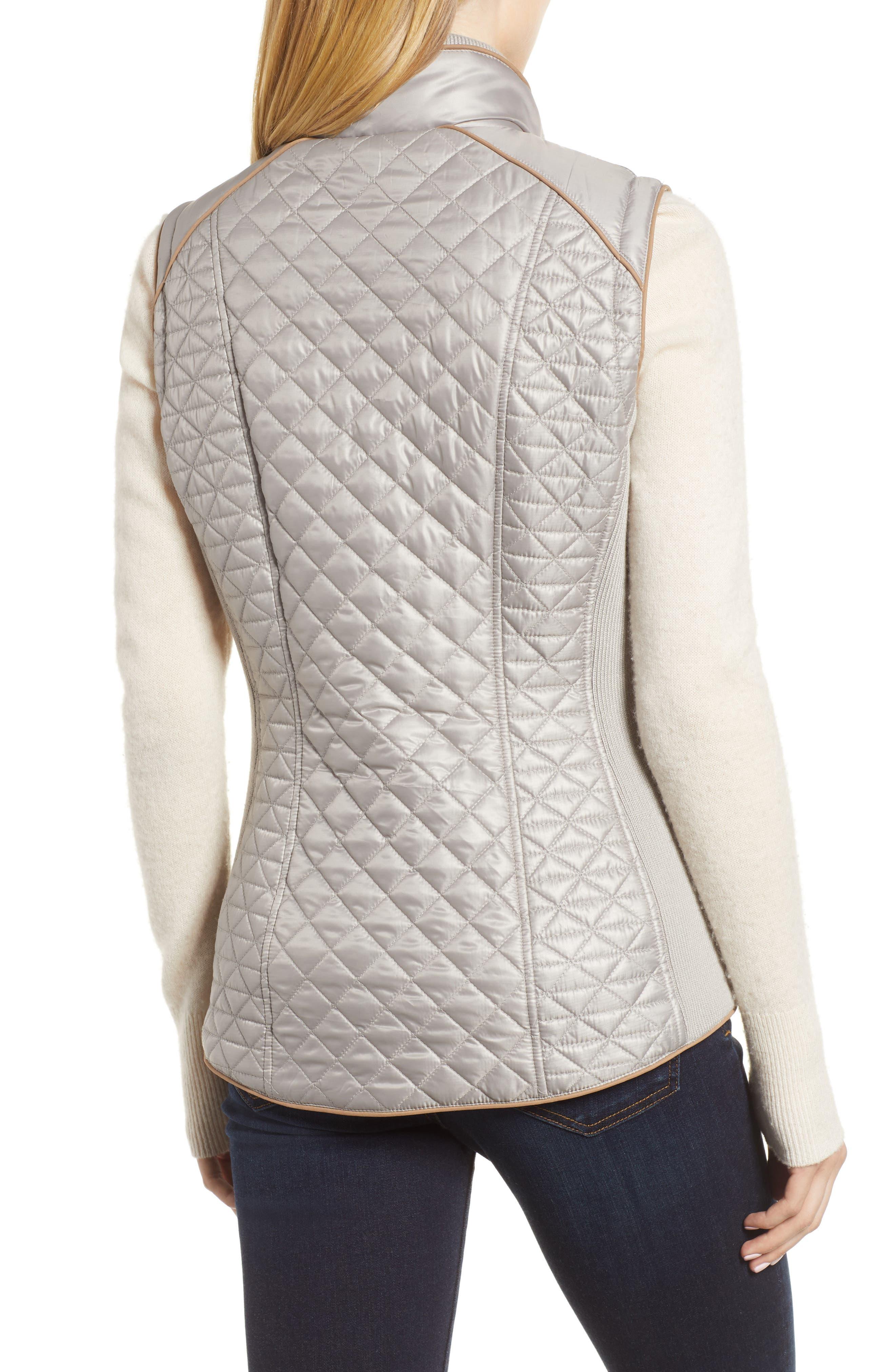 Quilted & Knit Vest,                             Alternate thumbnail 2, color,                             PLATINUM