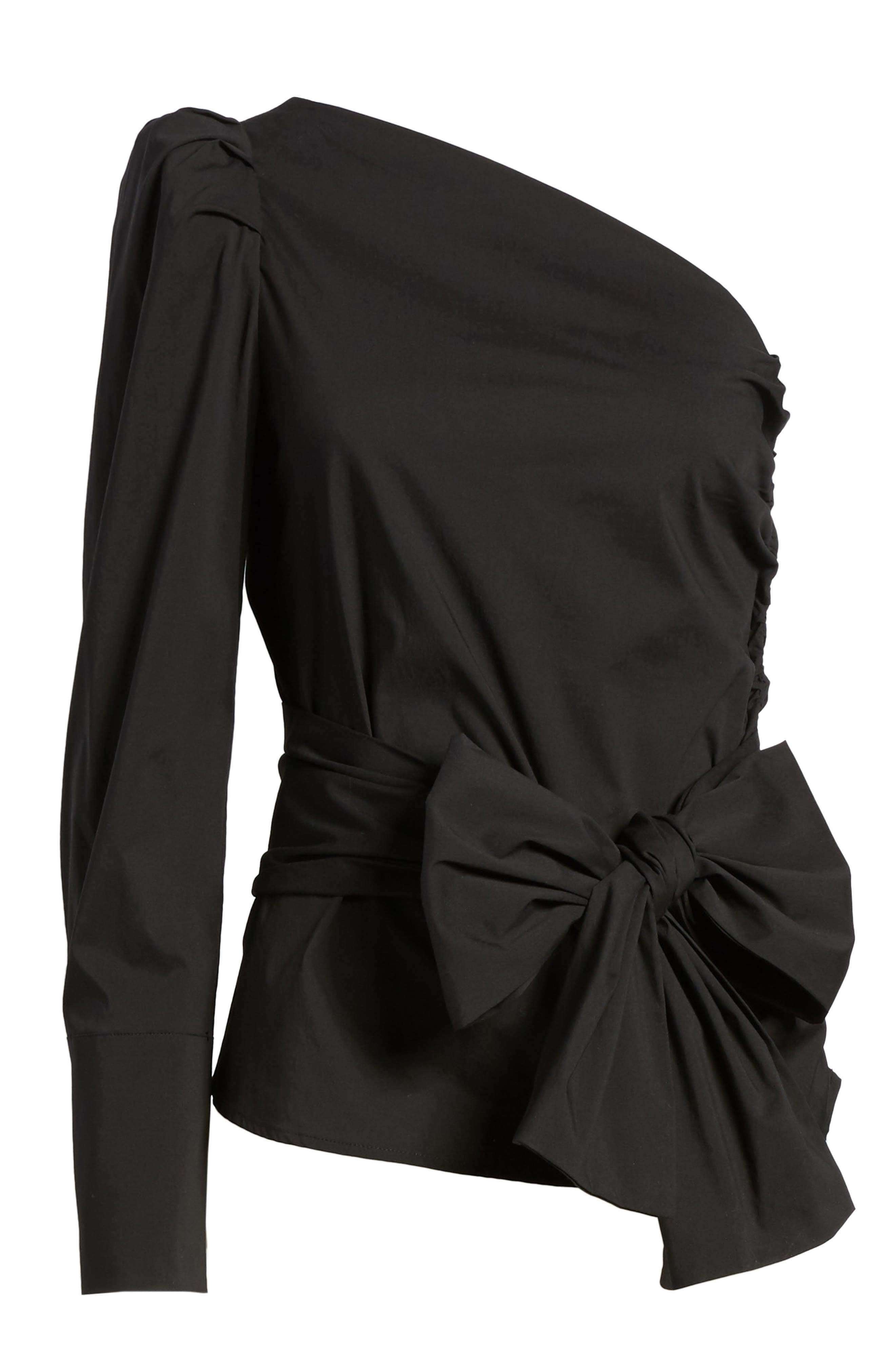 Bishop + Young Belted One-Shoulder Blouse,                             Alternate thumbnail 7, color,                             BLACK