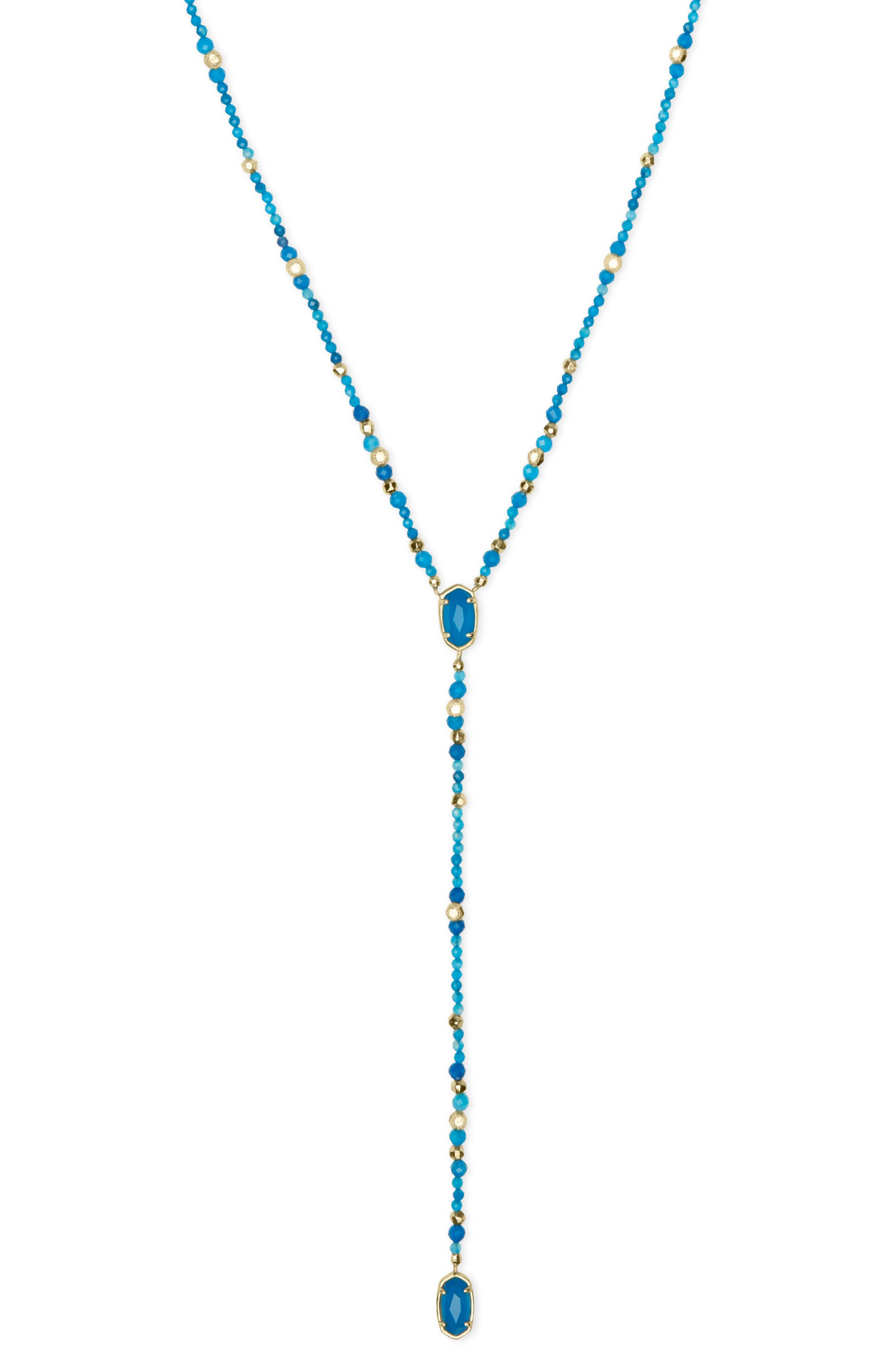 Bethany Y-Shaped Necklace,                             Alternate thumbnail 3, color,                             TEAL UNBANDED AGATE/ GOLD
