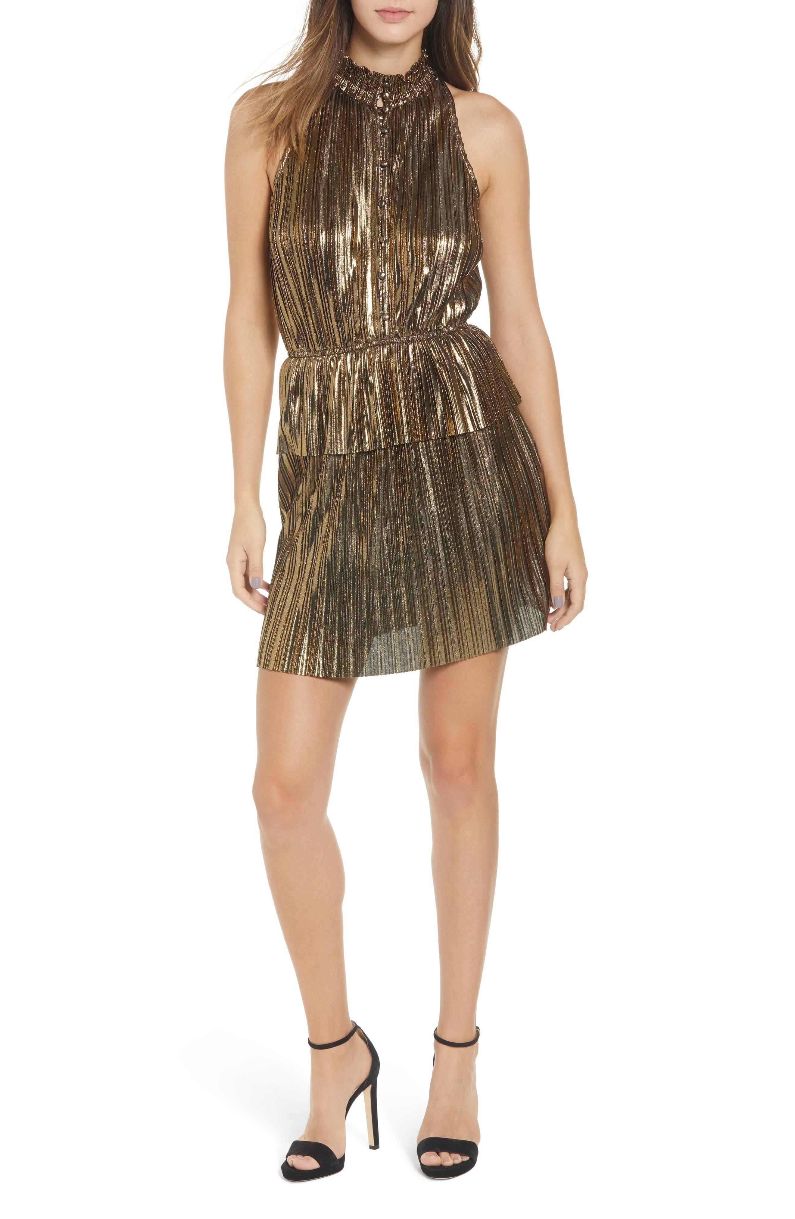 Metallic Plissé Peplum Dress,                         Main,                         color, BRONZE