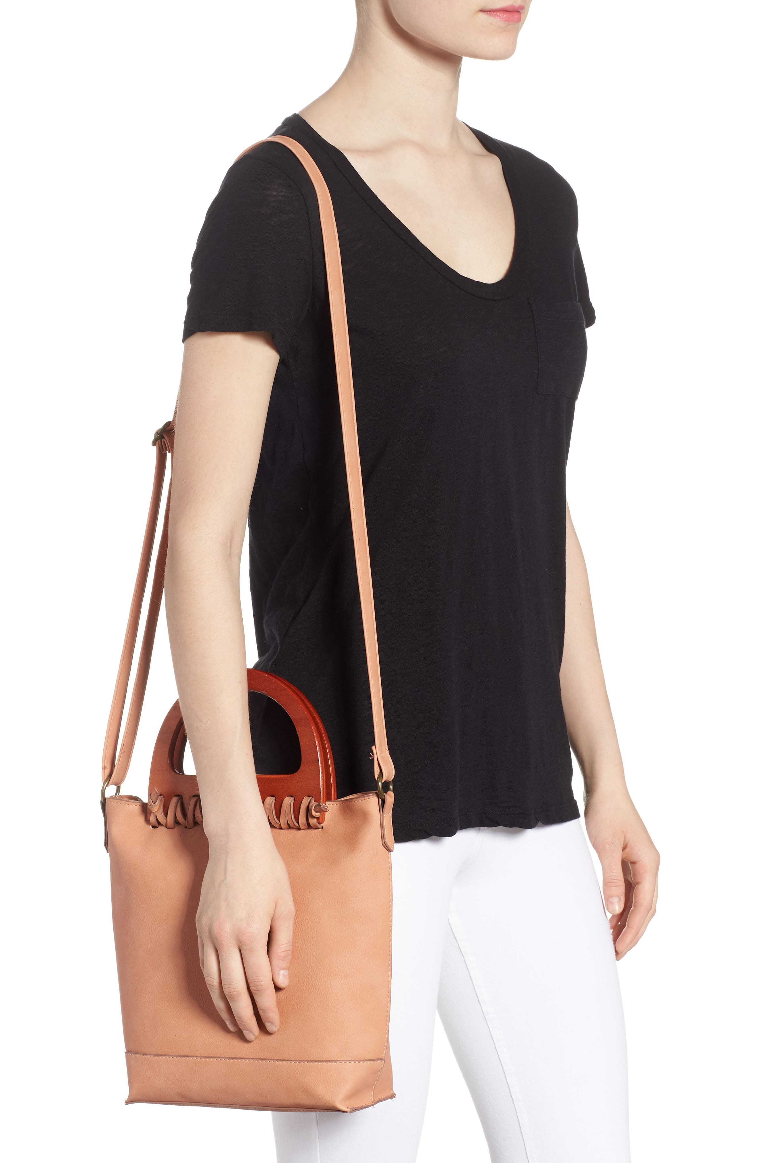 Wood Handle Stitched Tote,                             Alternate thumbnail 2, color,                             950