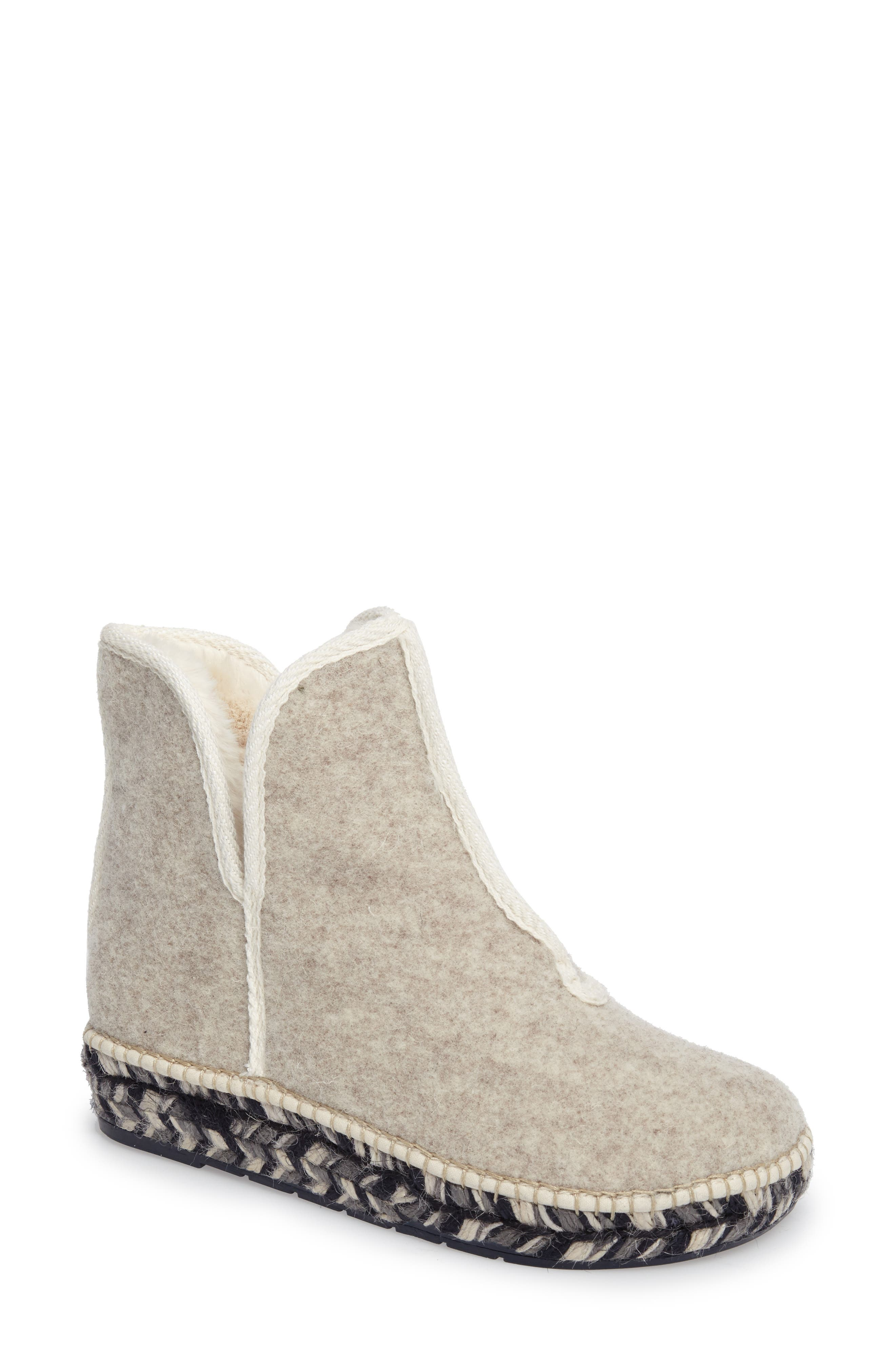 Espadrille Platform Bootie with Faux Fur Lining,                         Main,                         color, ECRU FELT