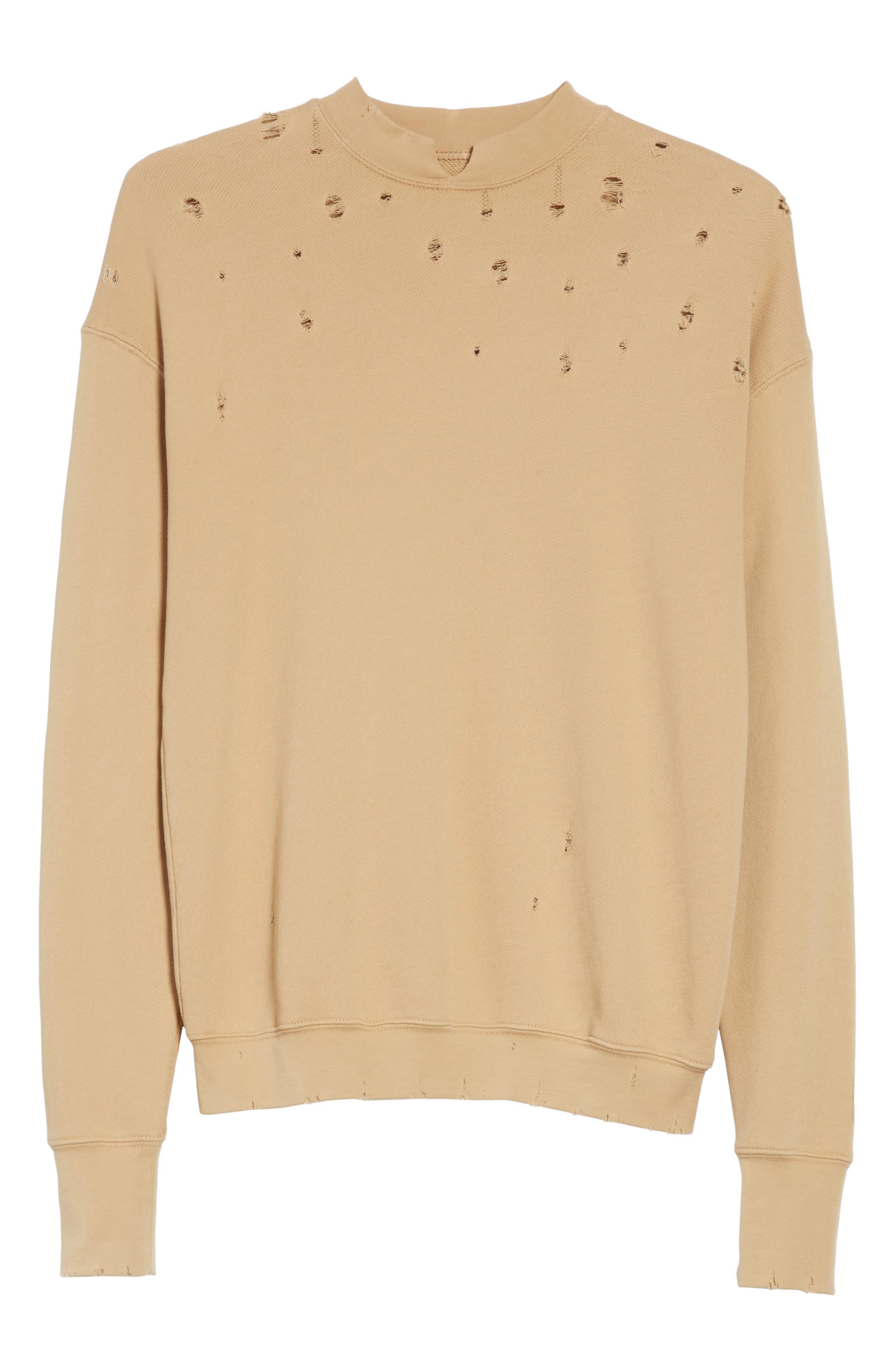 Slash Neck Destroyed Sweatshirt,                             Alternate thumbnail 6, color,                             291
