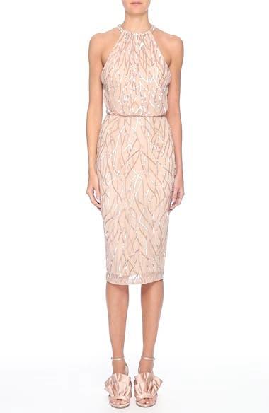 Toriana Beaded Halter Style Sheath Dress, video thumbnail