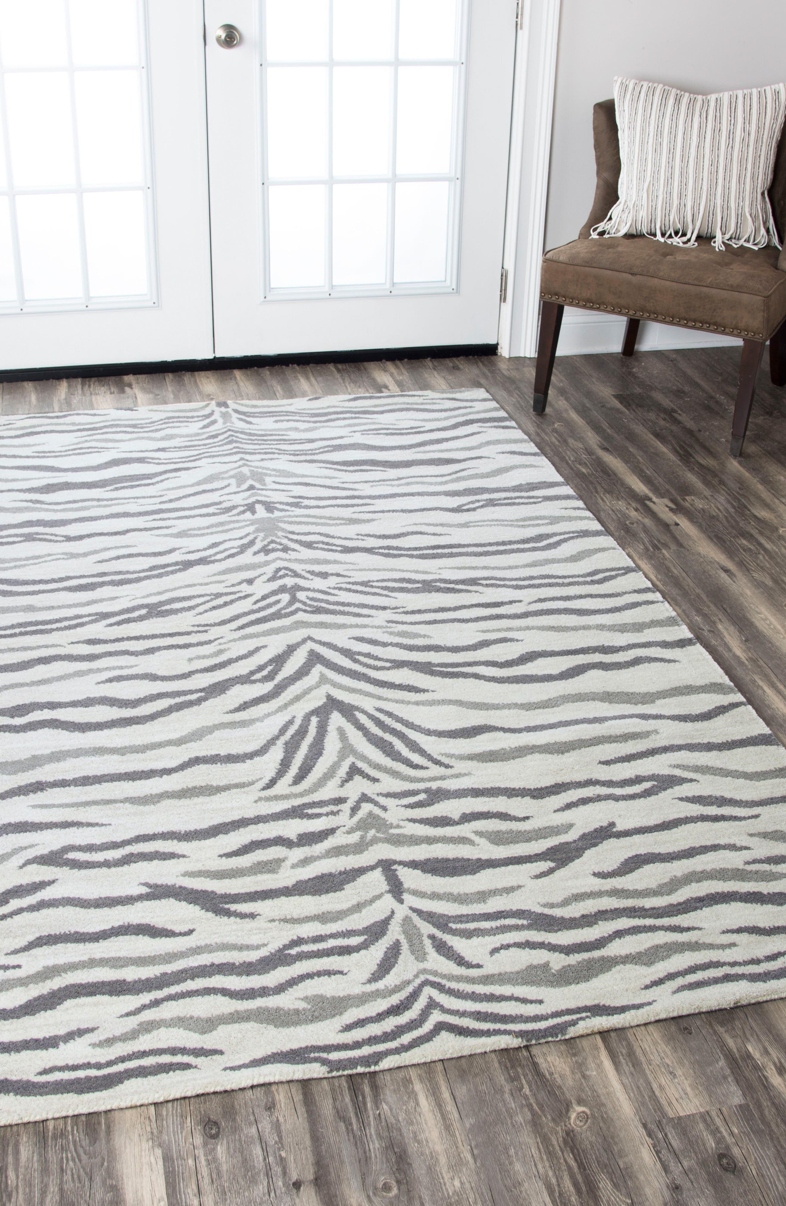 'Valintino Zebra' Hand Tufted Wool Area Rug,                             Alternate thumbnail 2, color,                             020
