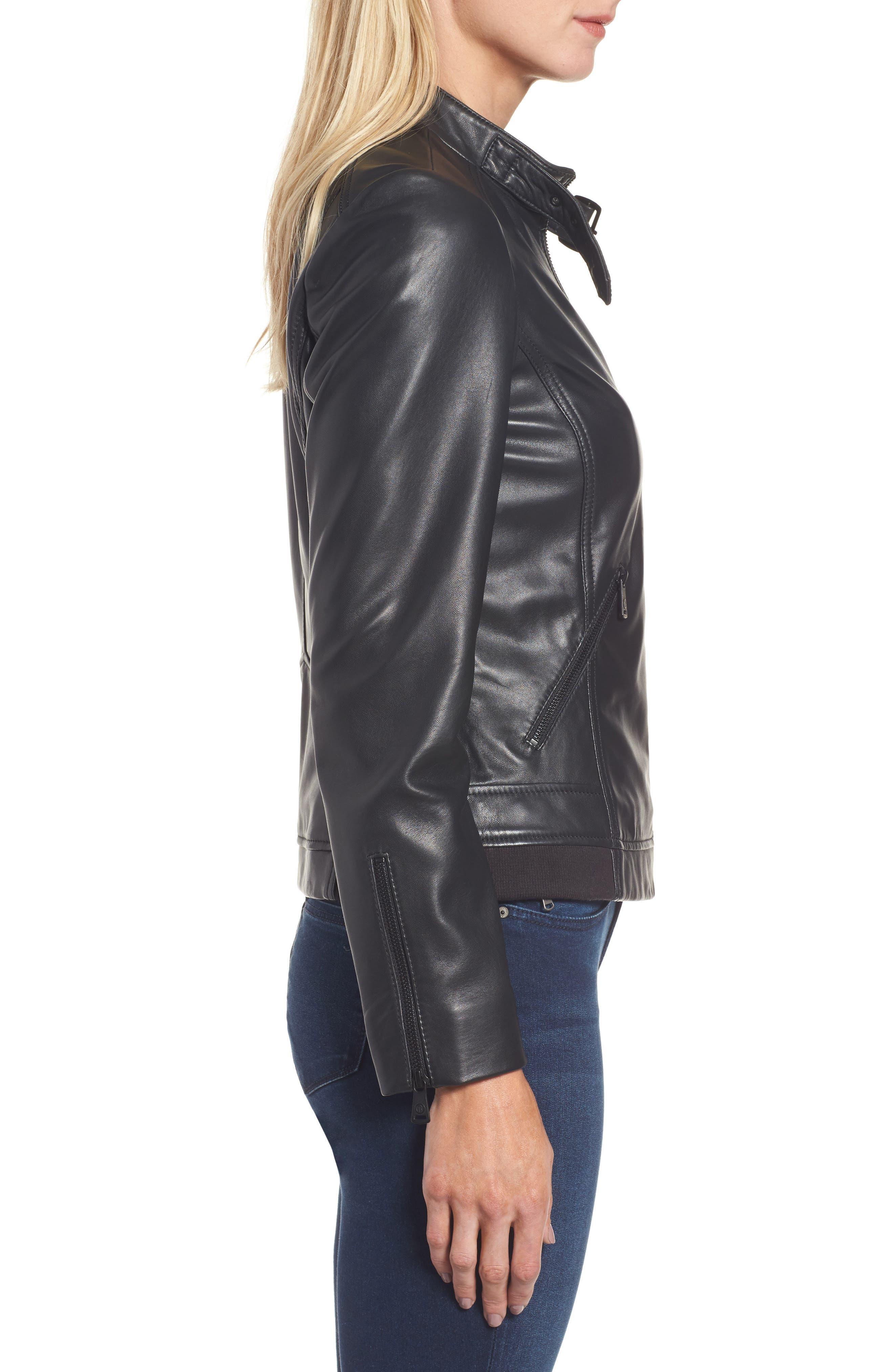 Jetta Knit Detail Leather Scuba Jacket,                             Alternate thumbnail 3, color,                             001