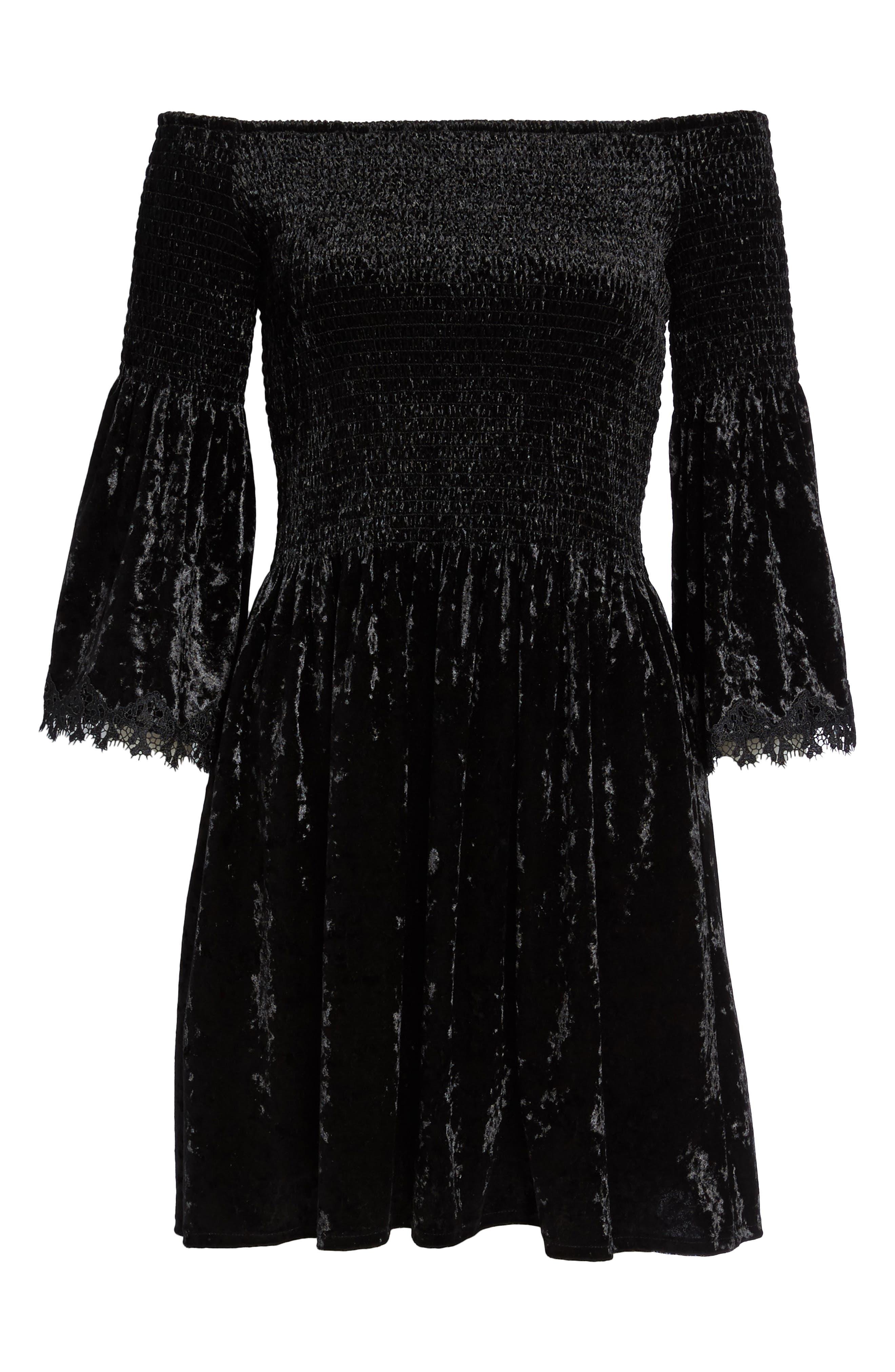 Donella Off the Shoulder Velvet Dress,                             Alternate thumbnail 6, color,