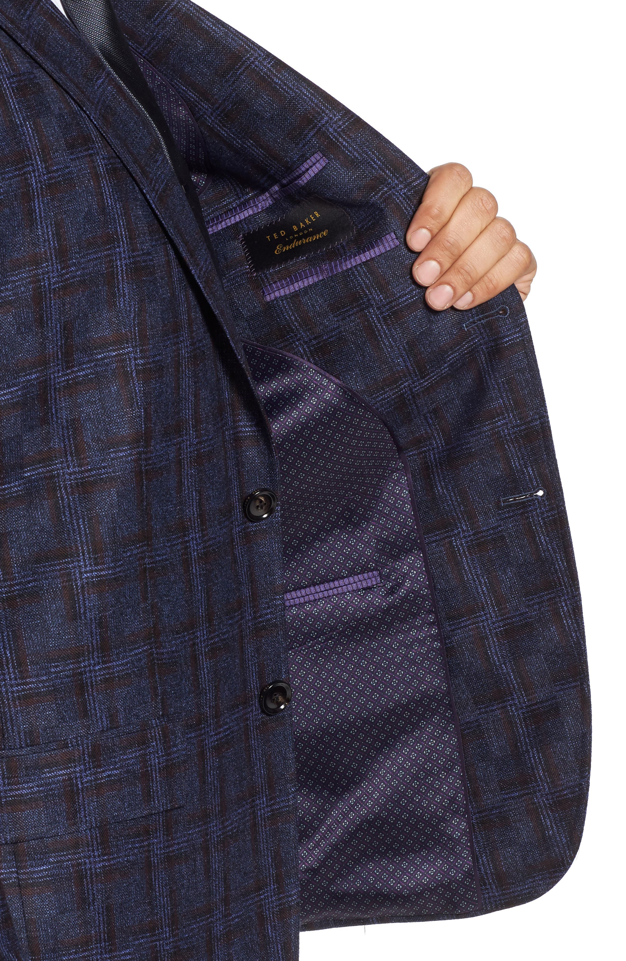 Jay Trim Fit Plaid Wool Sport Coat,                             Alternate thumbnail 4, color,