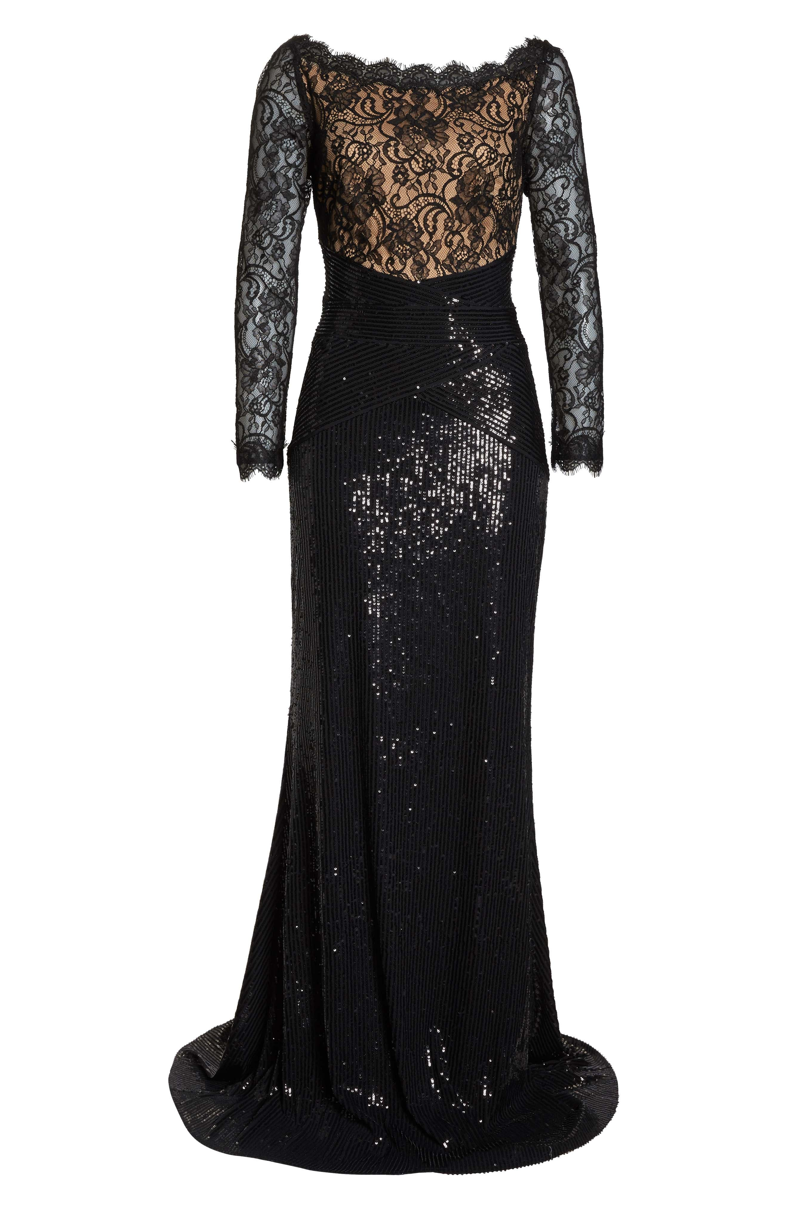 Lace & Sequin Gown,                             Alternate thumbnail 7, color,                             BLACK/ NUDE