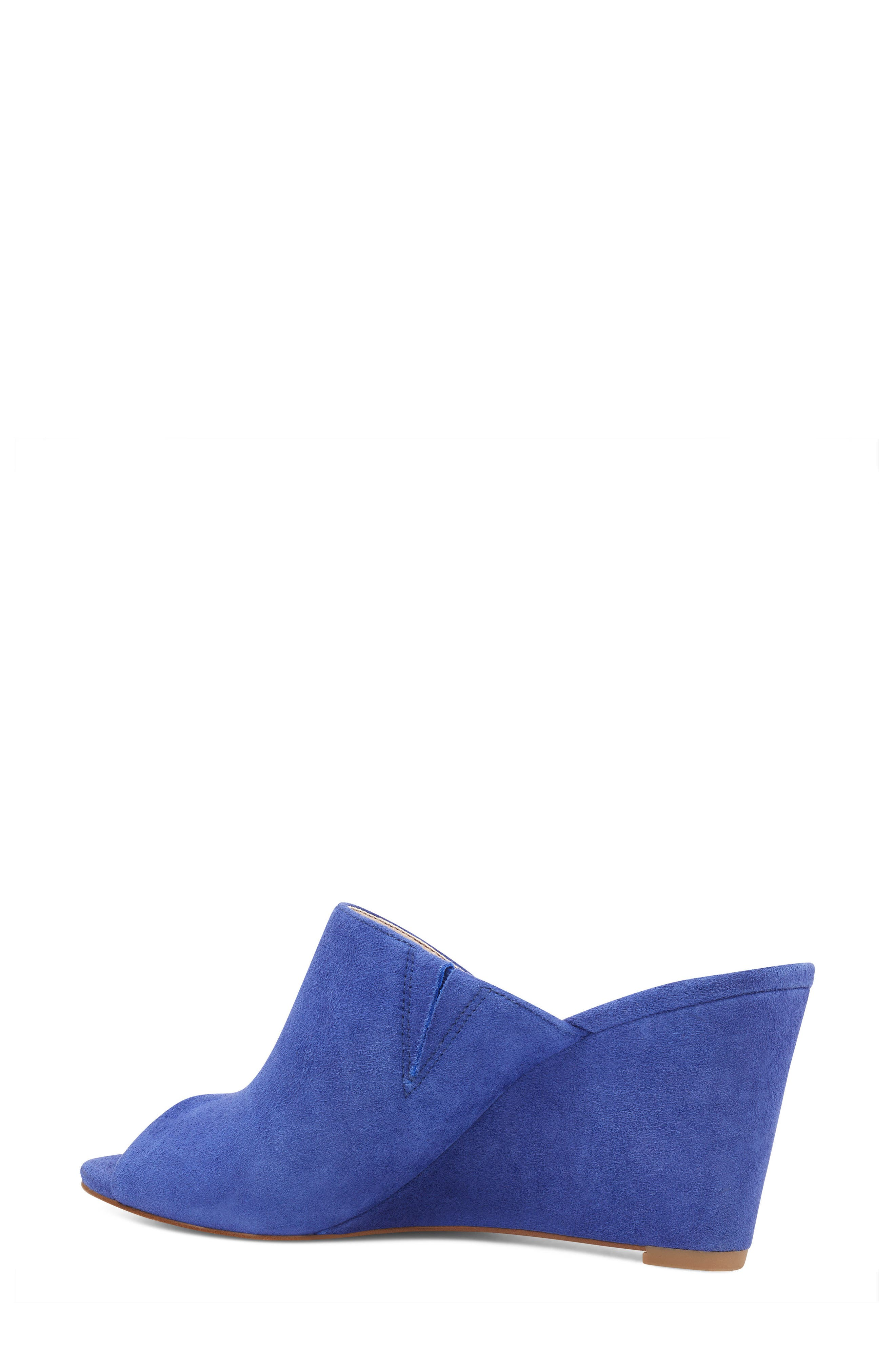 Janissah Wedge,                             Alternate thumbnail 2, color,                             DARK BLUE SUEDE