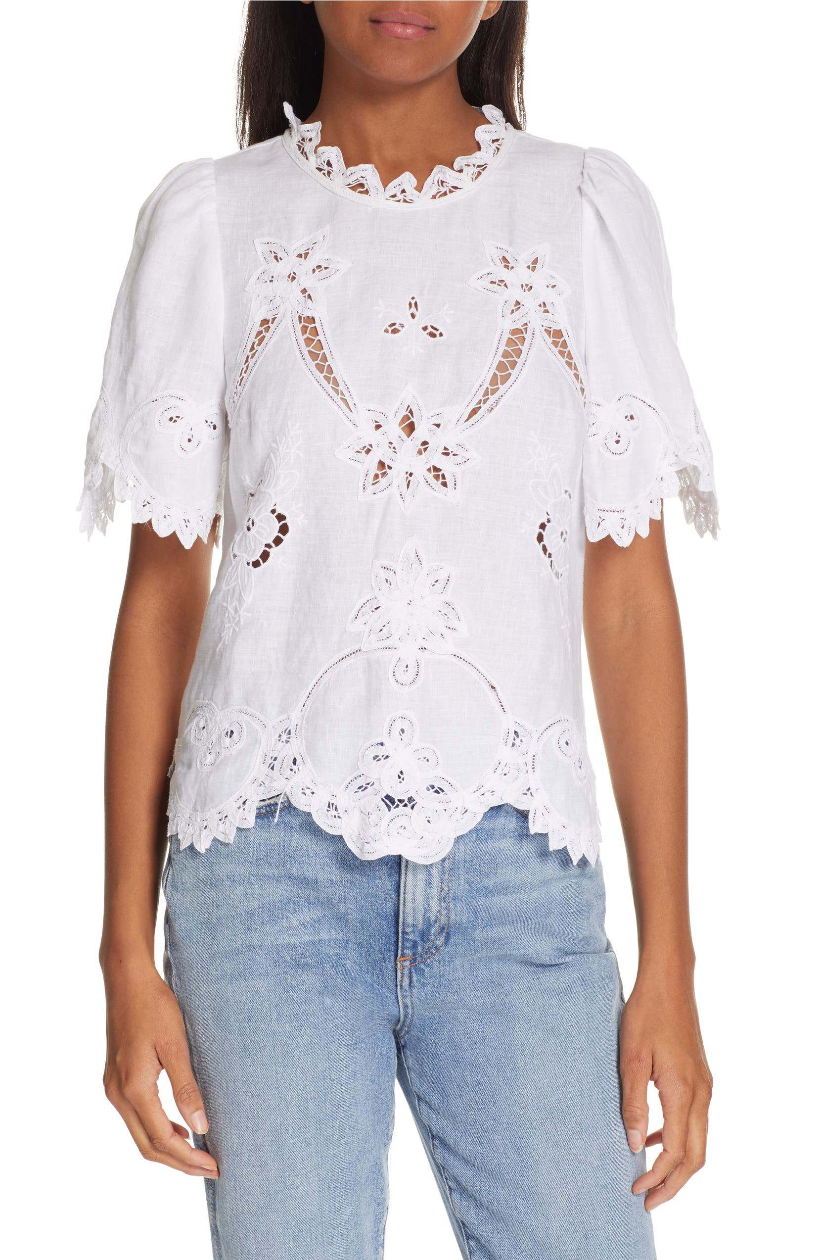 8781cd589b4 Rebecca Taylor Terri Embroidered Linen Top