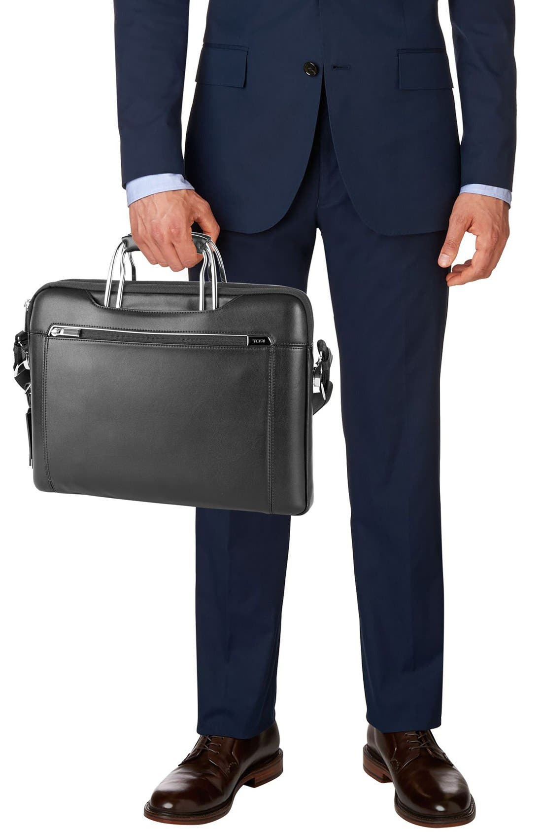 'Arrivé - Hamilton' Leather Briefcase,                             Alternate thumbnail 2, color,                             007