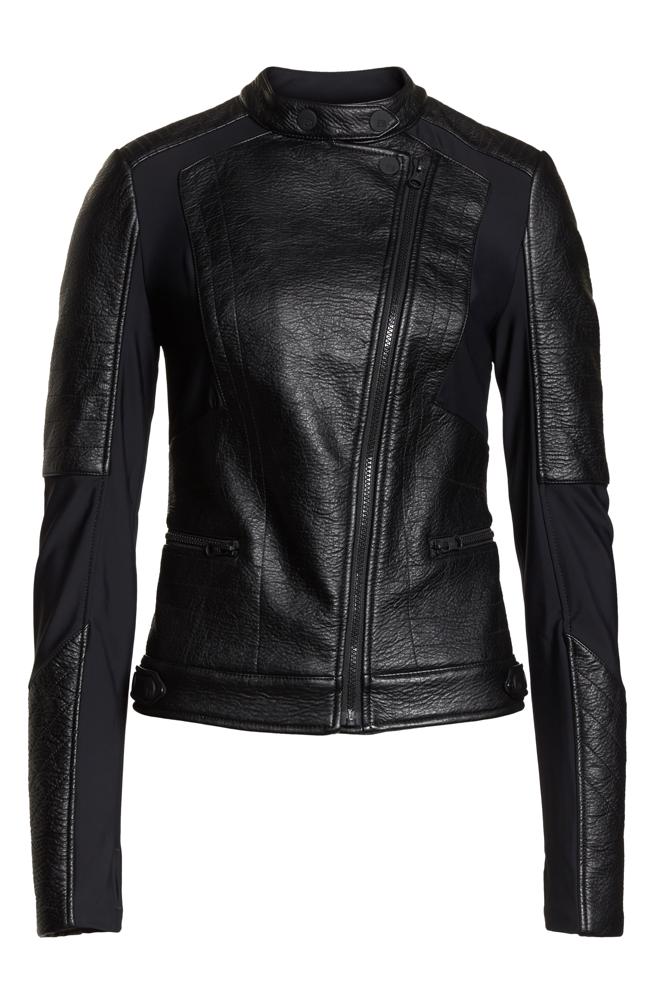 Ryder Faux Leather Moto Jacket,                             Alternate thumbnail 6, color,                             BLACK/ GREY