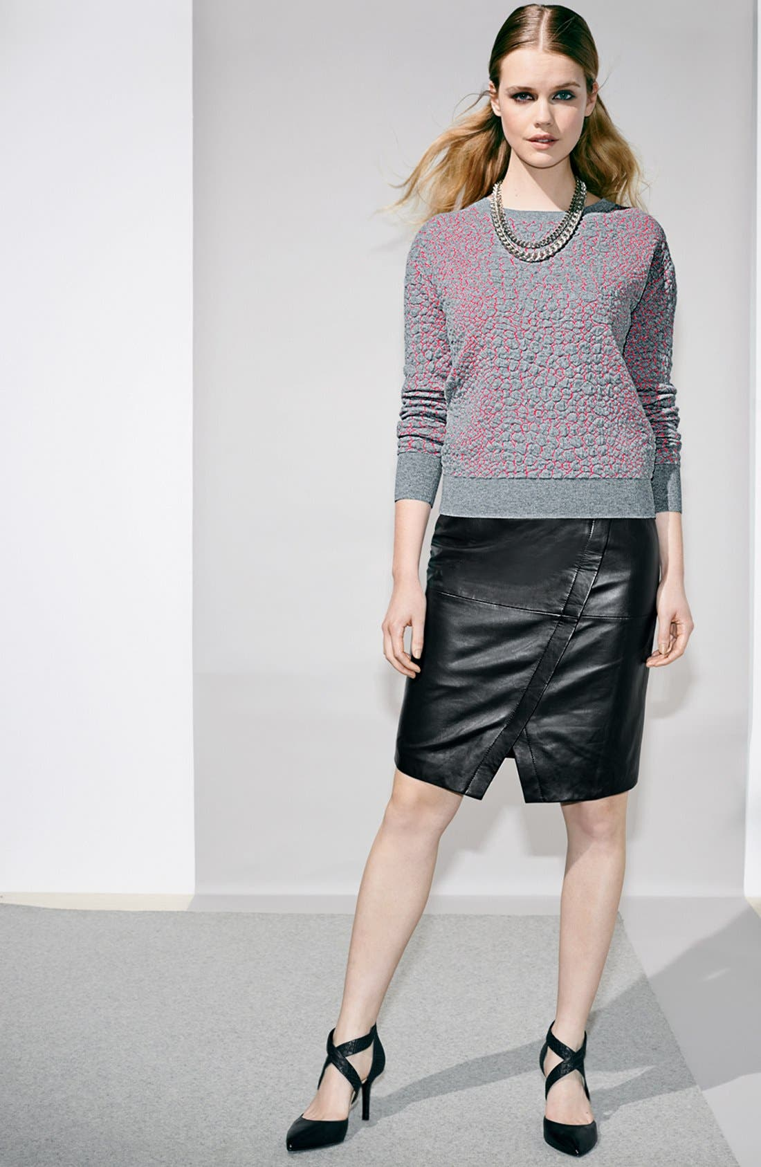 Seamed Leather Pencil Skirt,                             Alternate thumbnail 4, color,                             001