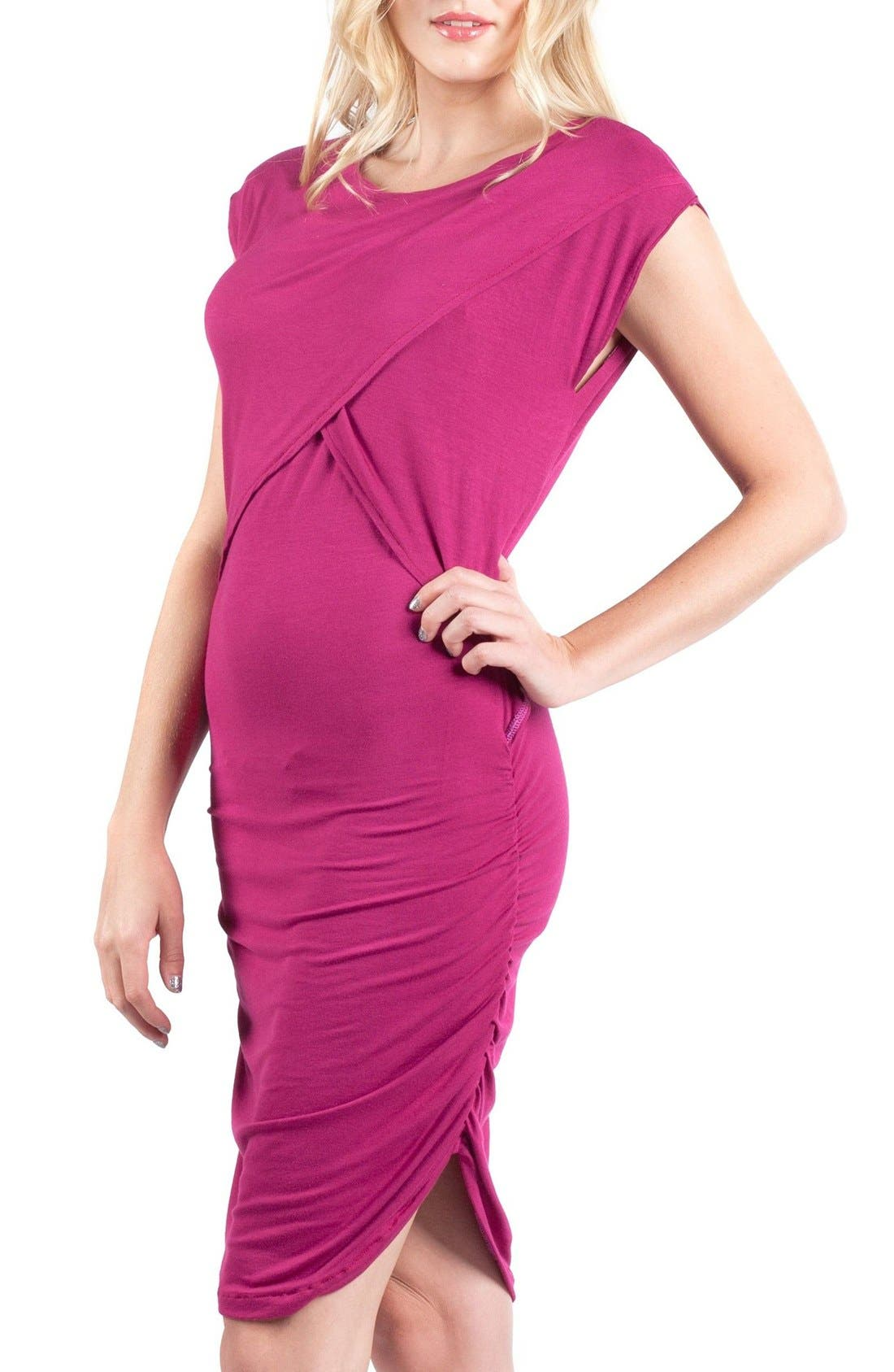 Miami Crossover Maternity/Nursing Sheath Dress,                             Alternate thumbnail 4, color,                             MAGENTA