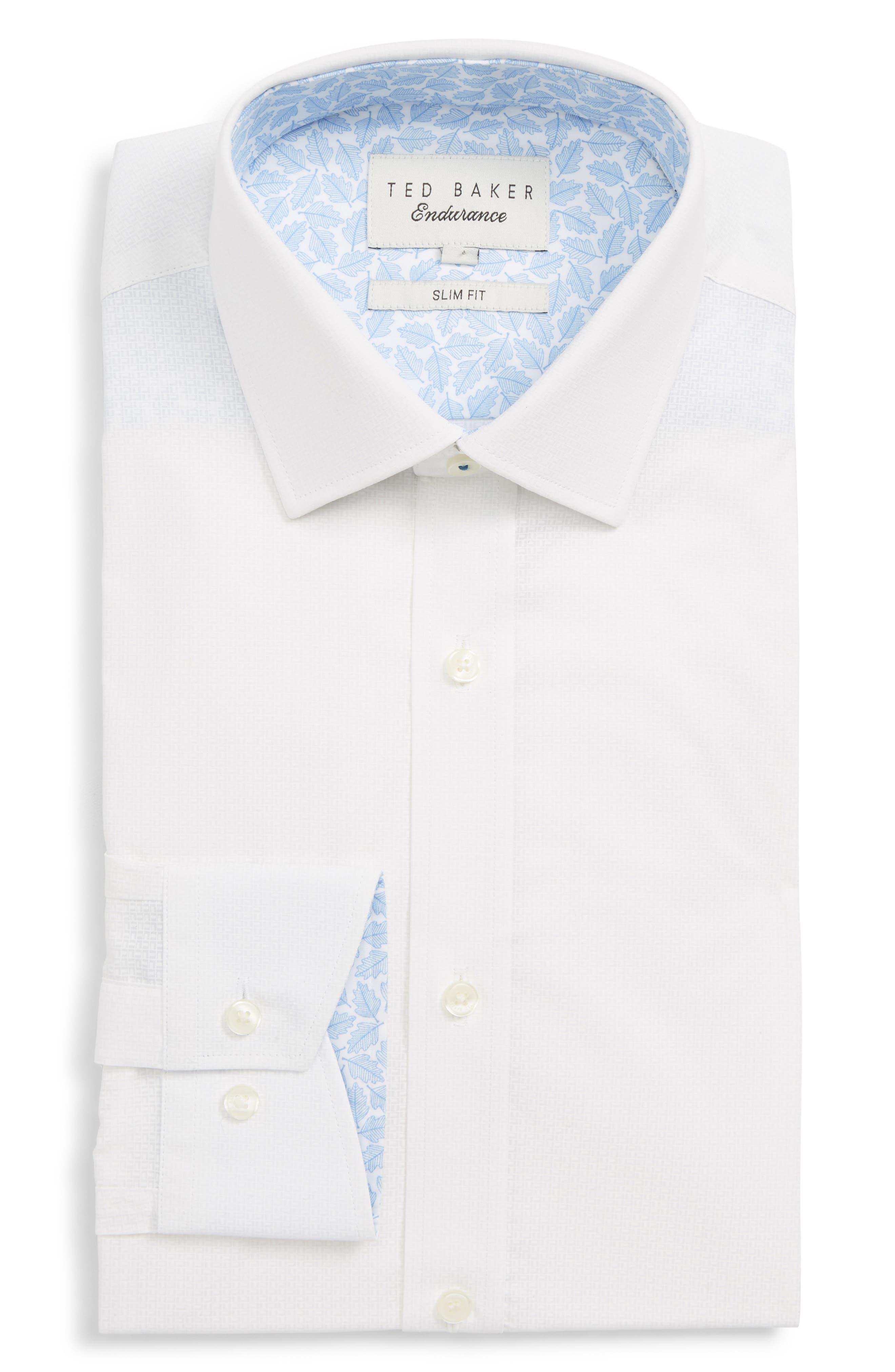 Sppotz Trim Fit Dot Dress Shirt,                         Main,                         color, WHITE