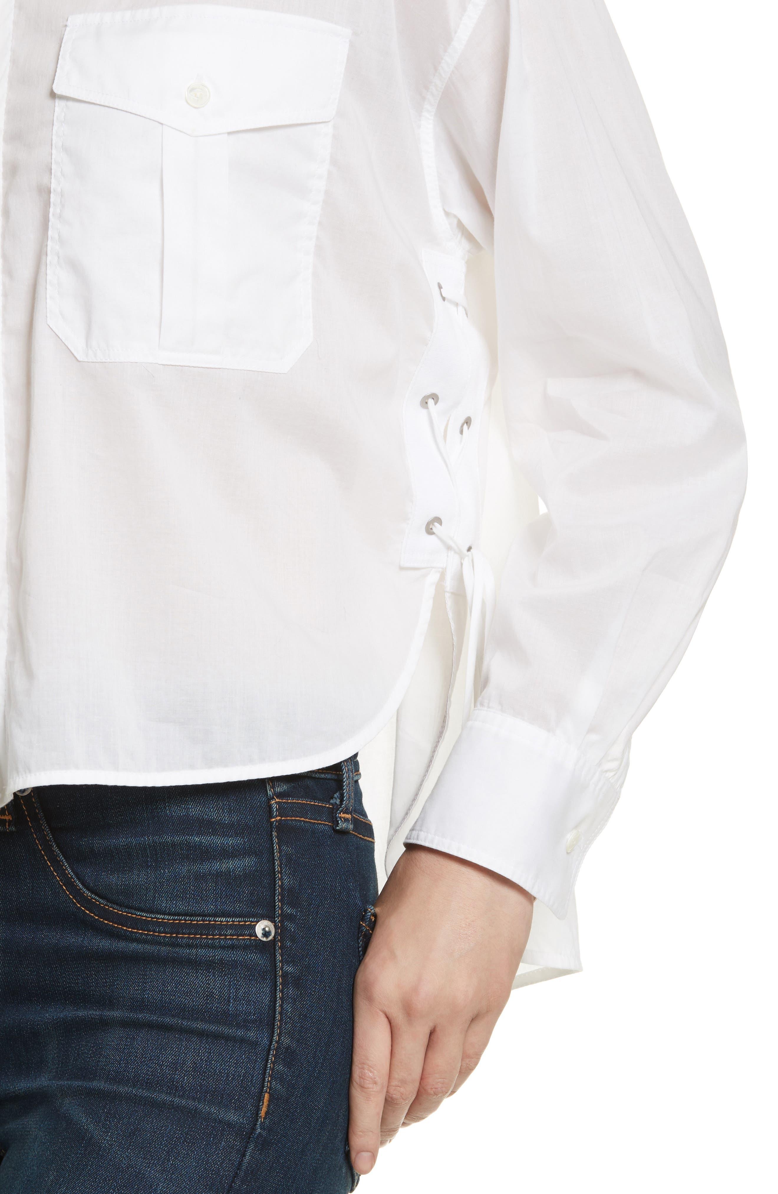 Mason Crop Shirt,                             Alternate thumbnail 4, color,                             100
