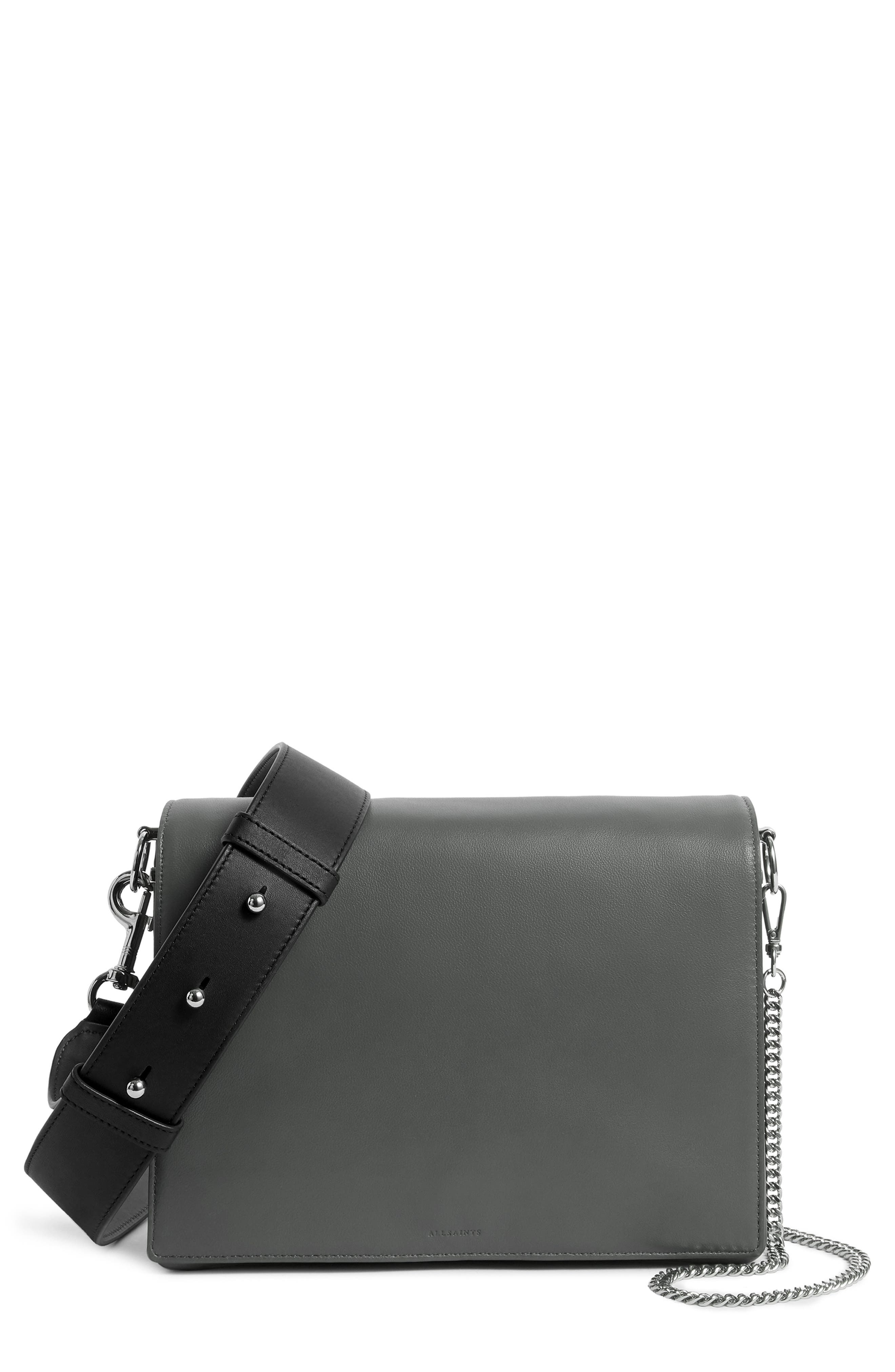 Zep Lambskin Leather Box Bag,                         Main,                         color, SMOKY BLUE/ DARK BLUE