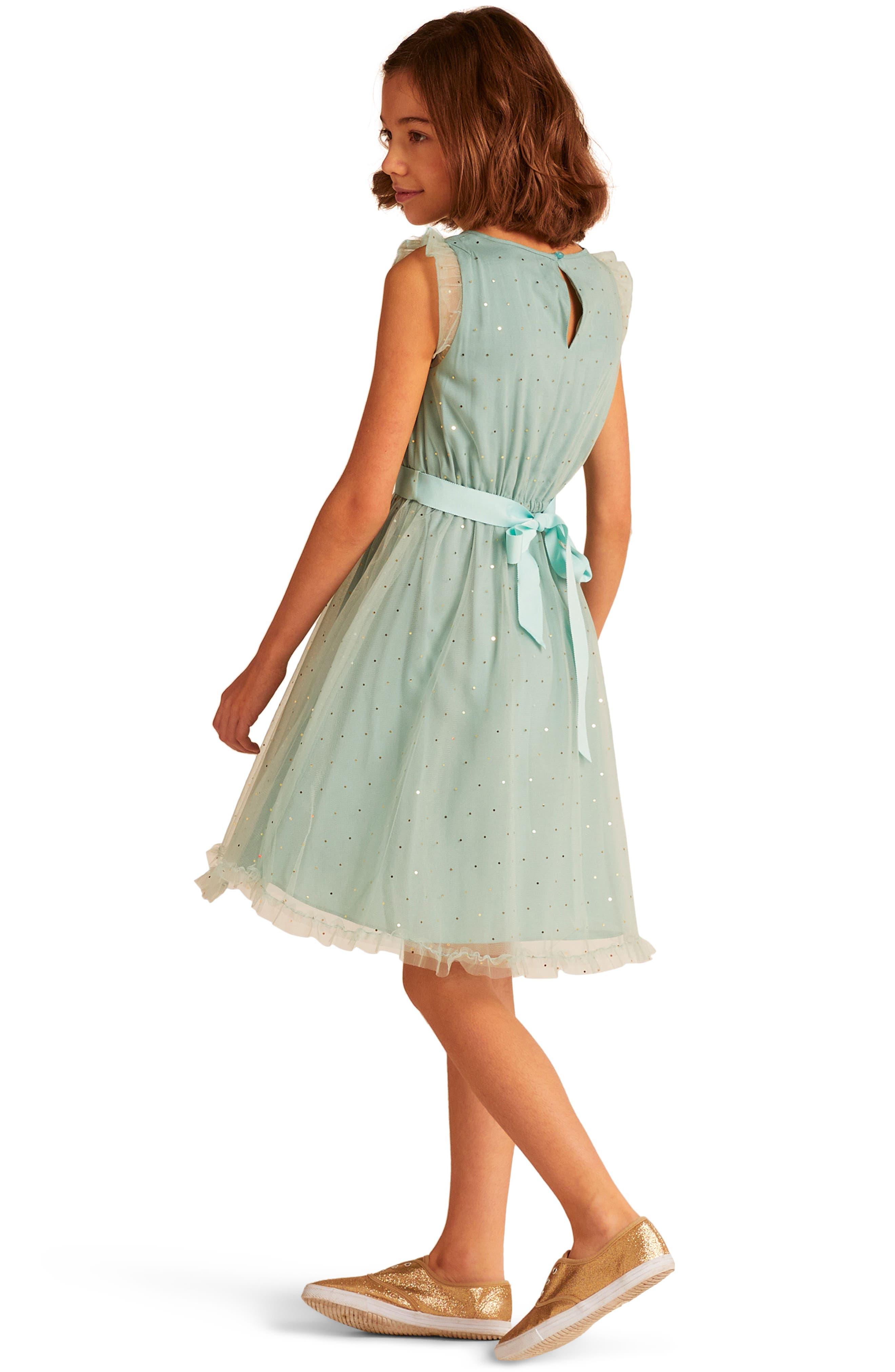 Christina Dot Tulle Fit & Flare Dress,                             Alternate thumbnail 3, color,                             300