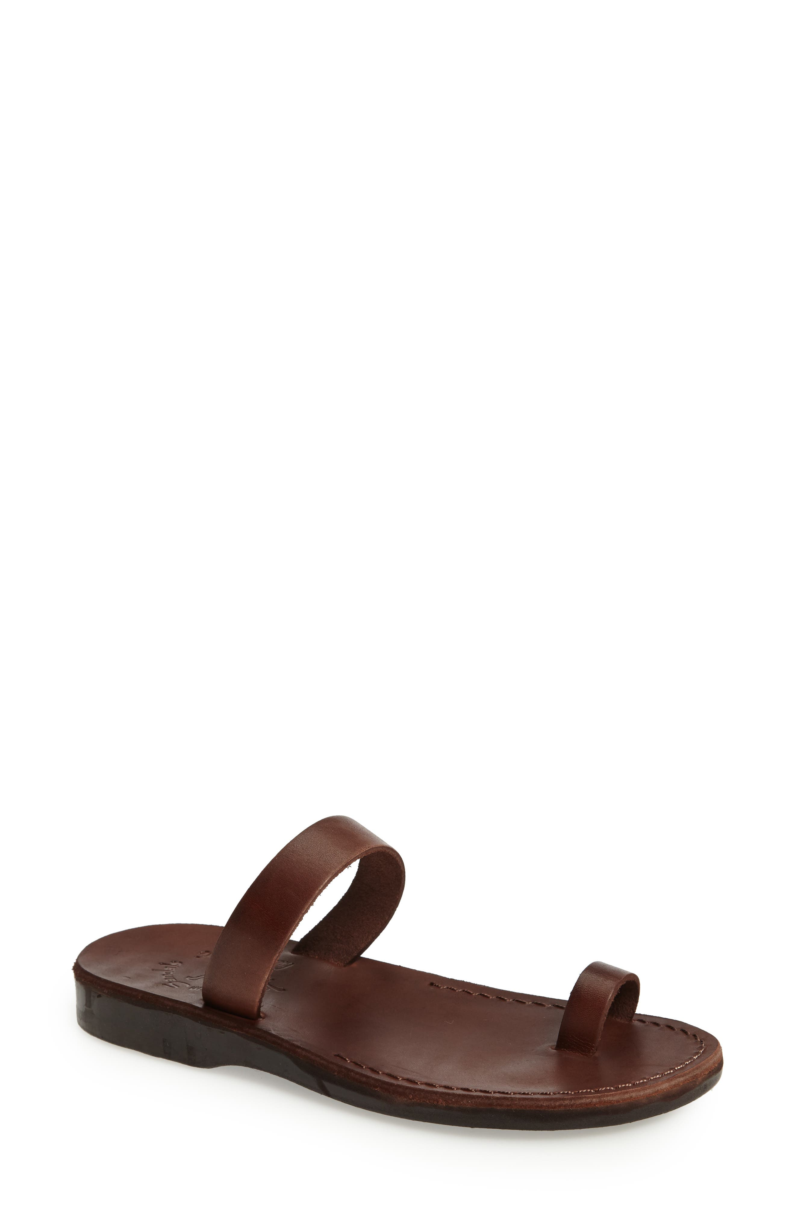 Eden Toe Loop Sandal,                             Main thumbnail 1, color,                             BROWN LEATHER