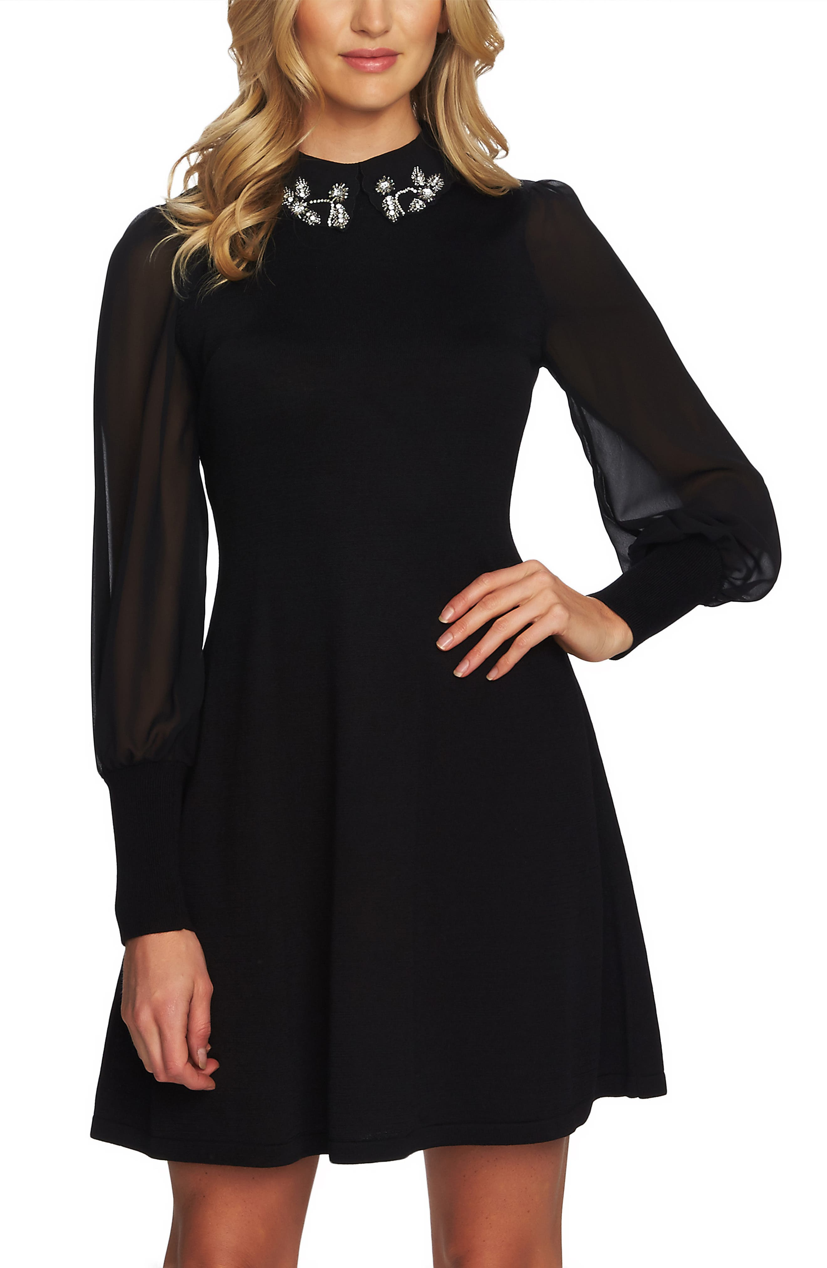Embellished Collar Dress,                             Alternate thumbnail 3, color,                             RICH BLACK